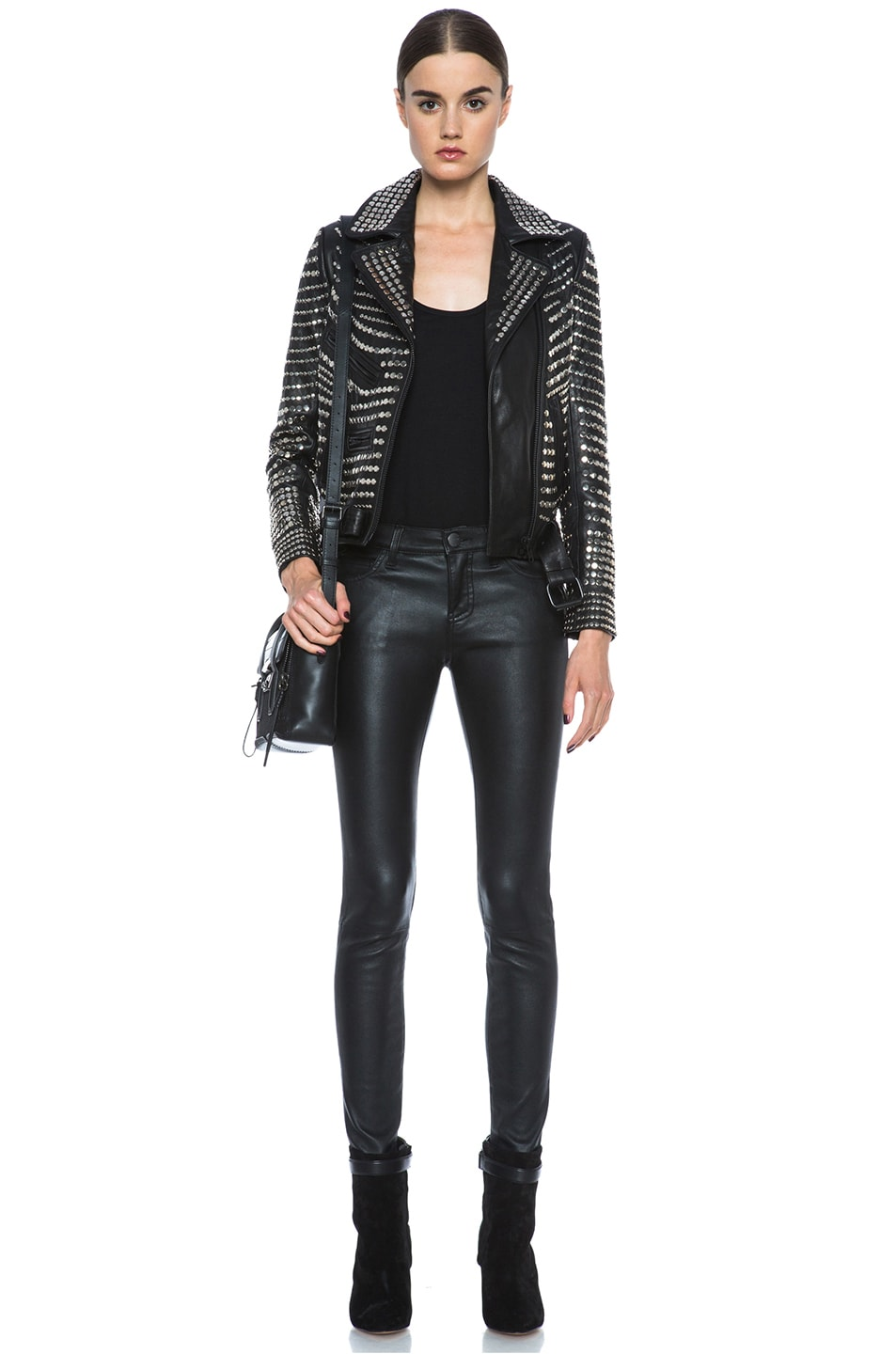 Image 6 of A.L.C. Blake Lambskin Studded Jacket in Black
