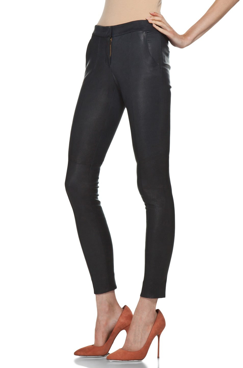 Image 2 of A.L.C. Ridley Leather Pant in Navy