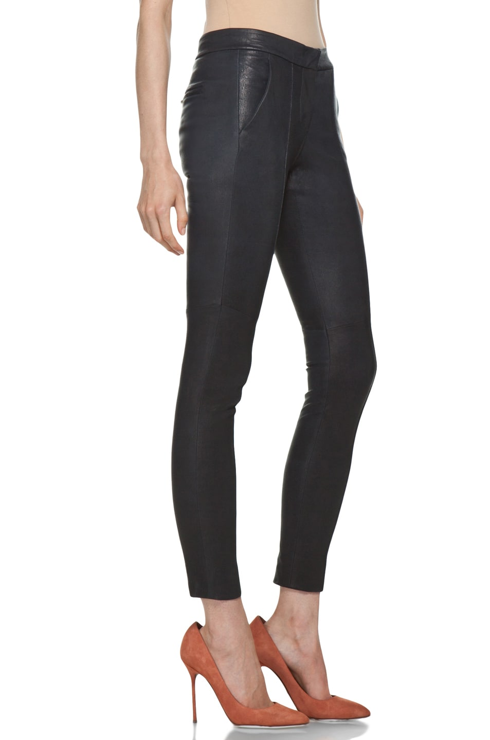 Image 3 of A.L.C. Ridley Leather Pant in Navy