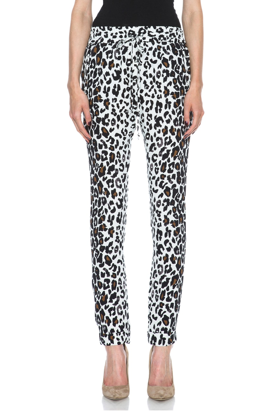 Image 1 of A.L.C. Thompson Silk Pant in White Leopard