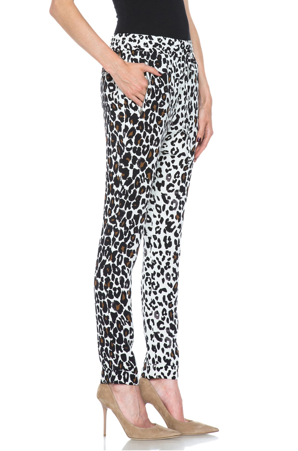 Image 3 of A.L.C. Thompson Silk Pant in White Leopard