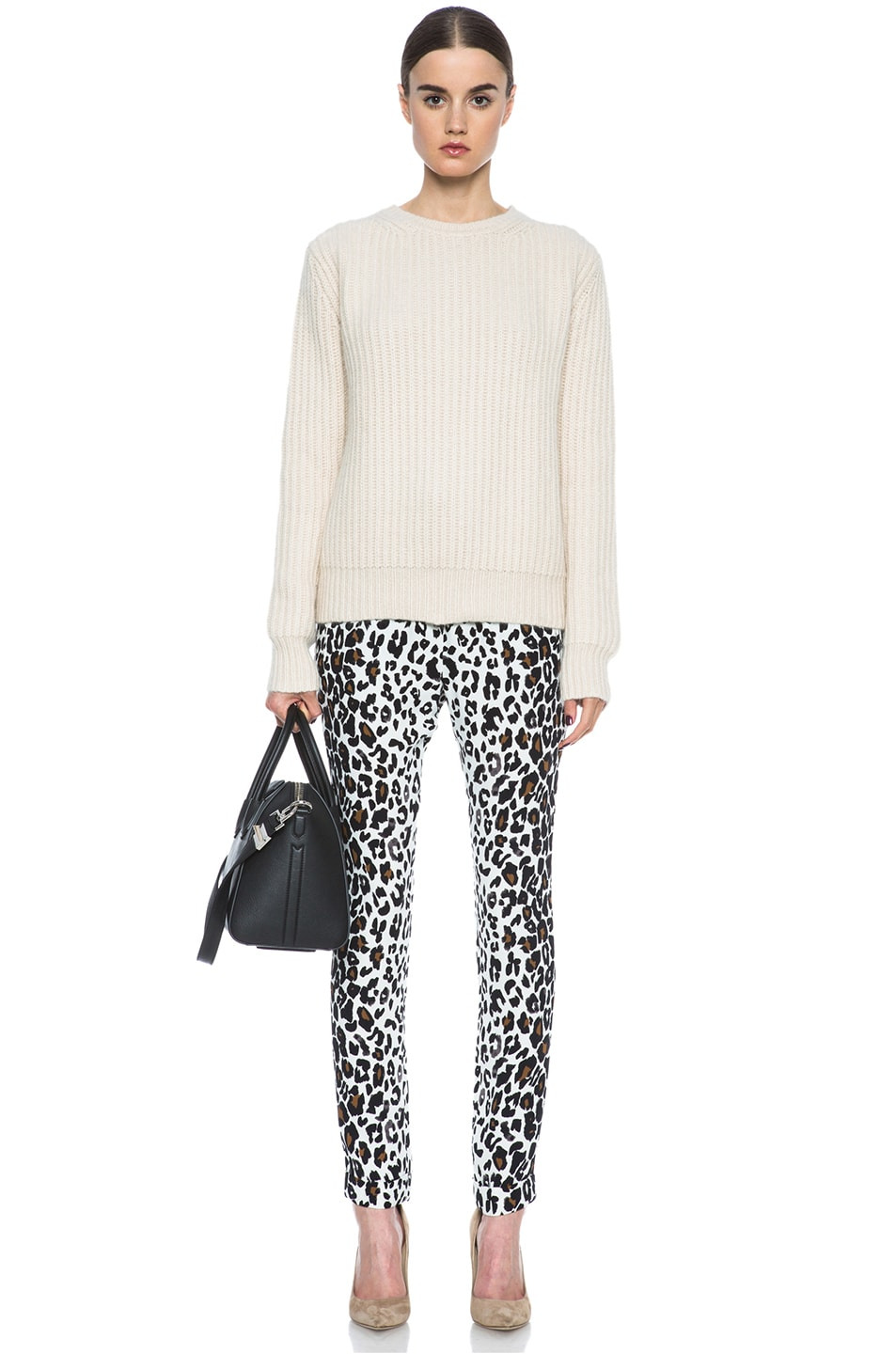 Image 5 of A.L.C. Thompson Silk Pant in White Leopard