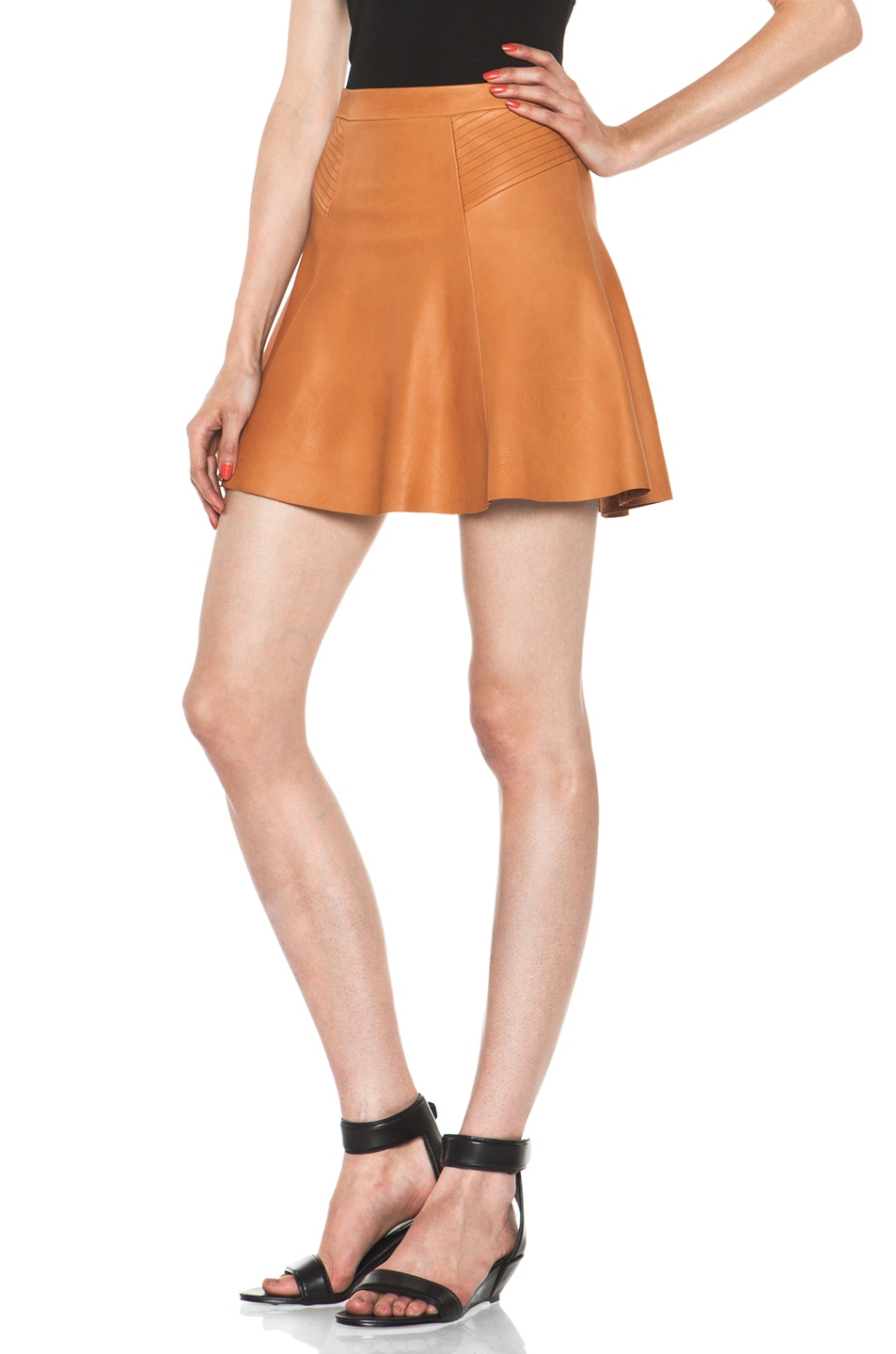 Image 2 of A.L.C. Reese Leather Skirt in Caramel