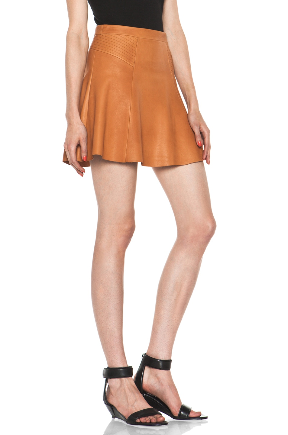 Image 3 of A.L.C. Reese Leather Skirt in Caramel
