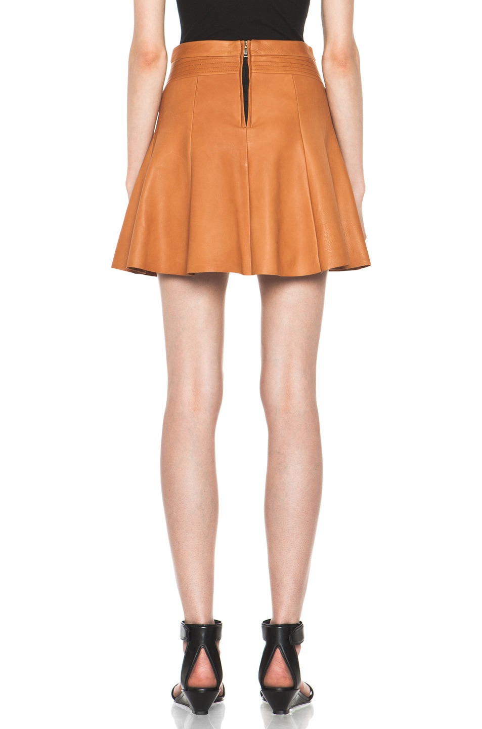 Image 4 of A.L.C. Reese Leather Skirt in Caramel