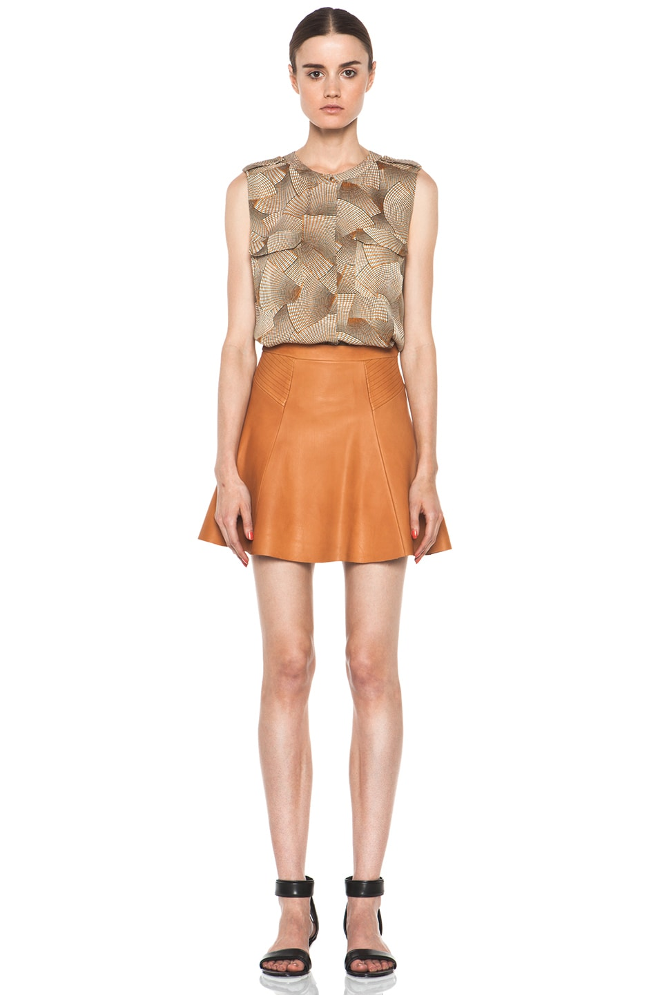 Image 5 of A.L.C. Reese Leather Skirt in Caramel