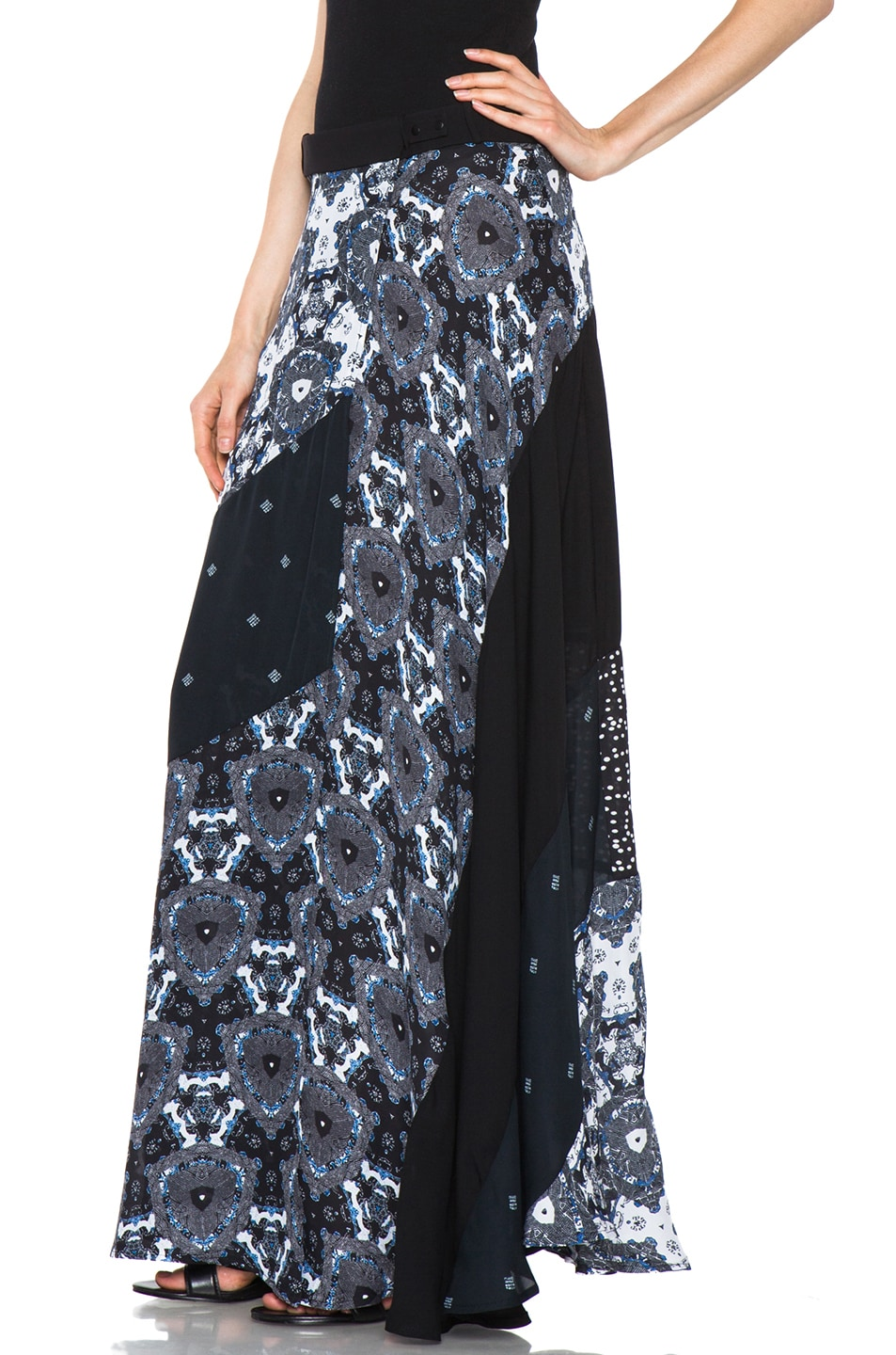 Image 2 of A.L.C. Brixton Floral Shibori Skirt in Black & Blue