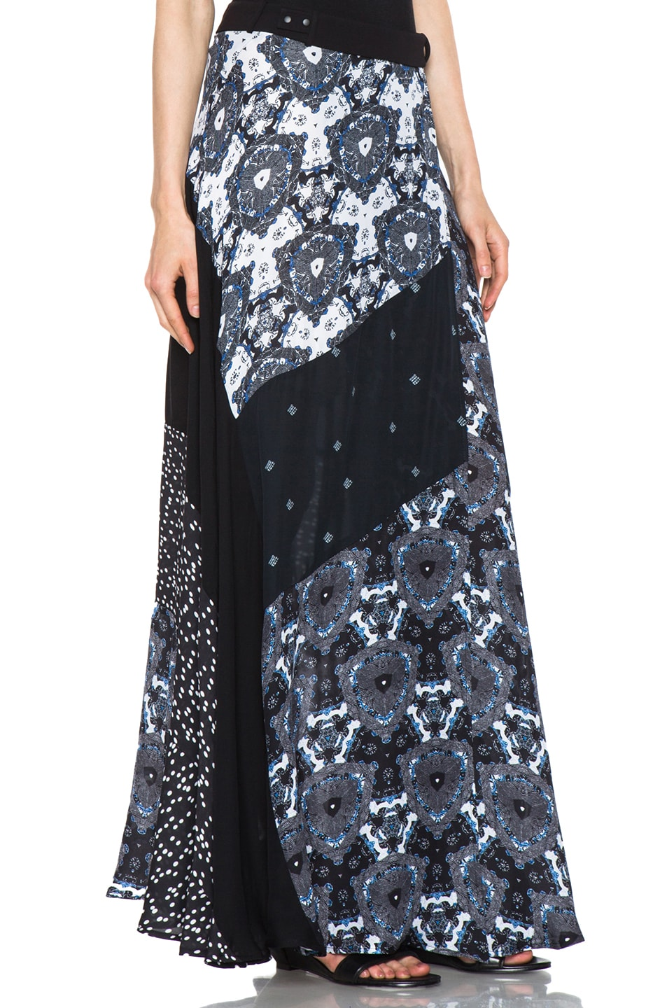 Image 3 of A.L.C. Brixton Floral Shibori Skirt in Black & Blue
