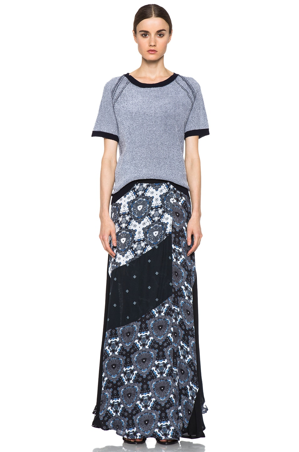 Image 5 of A.L.C. Brixton Floral Shibori Skirt in Black & Blue