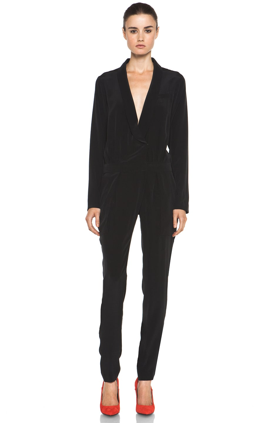 Image 1 of A.L.C. Carey Silk Jumpsuit in Black