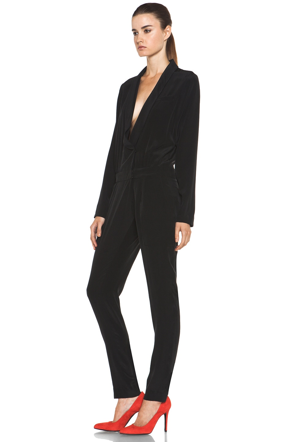 Image 2 of A.L.C. Carey Silk Jumpsuit in Black