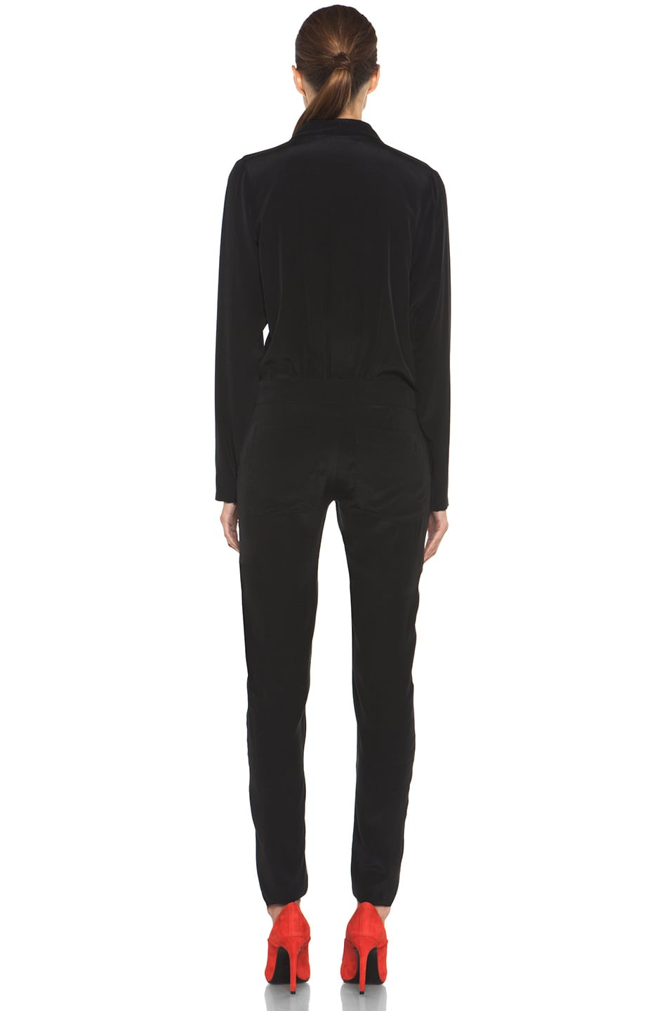Image 4 of A.L.C. Carey Silk Jumpsuit in Black