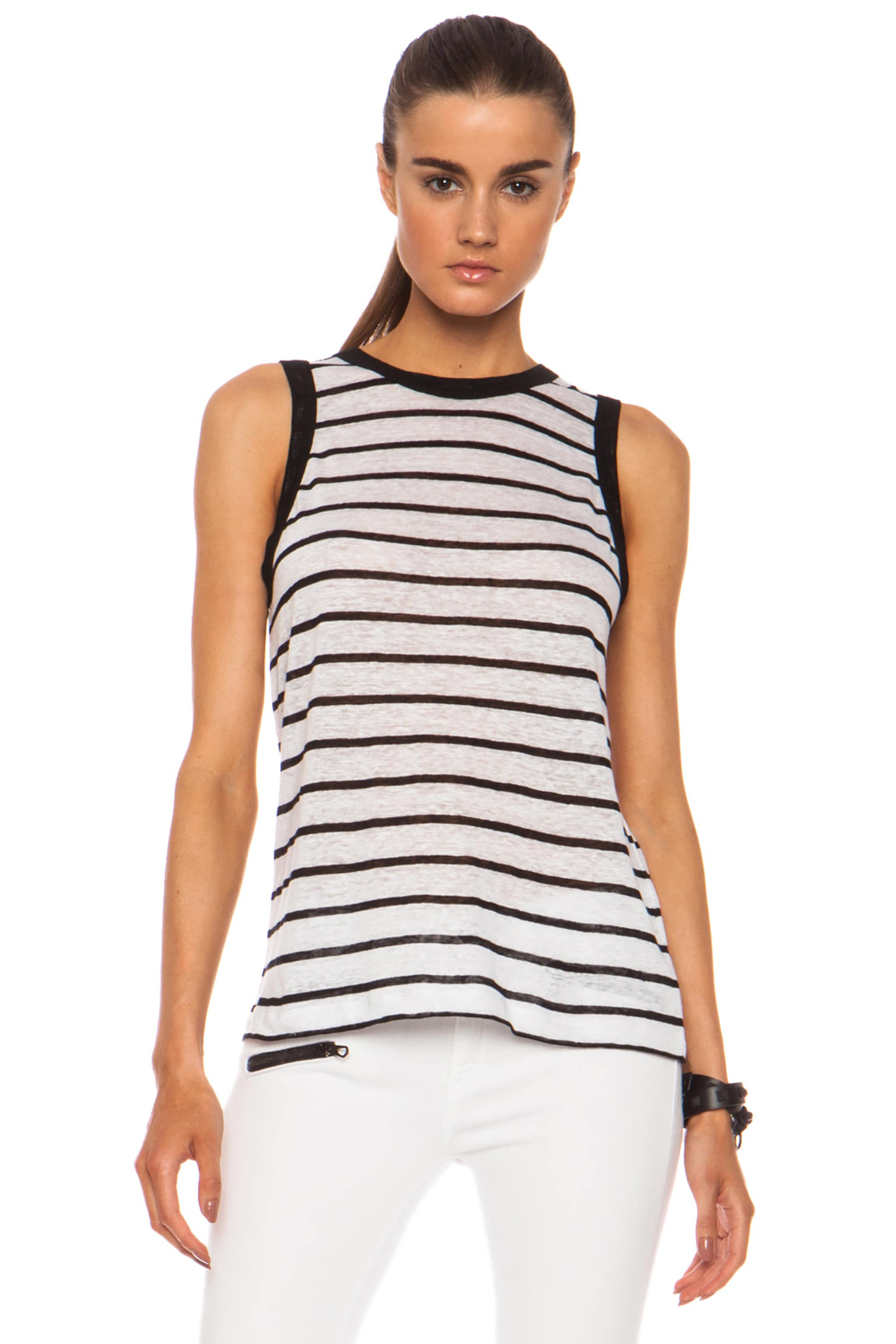 Image 1 of A.L.C. Tenorio Linen Tank in White & Black Stripe