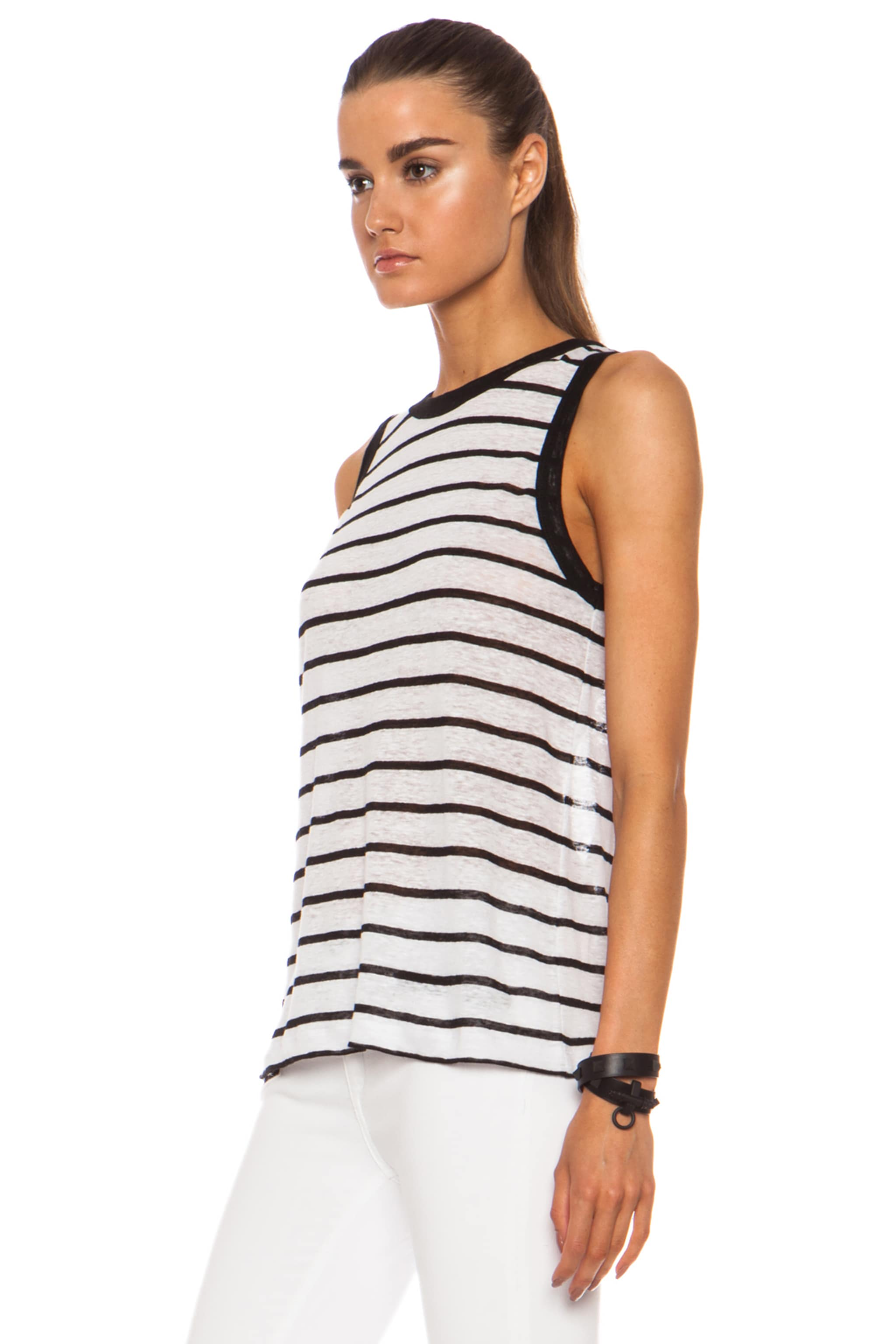 Image 2 of A.L.C. Tenorio Linen Tank in White & Black Stripe