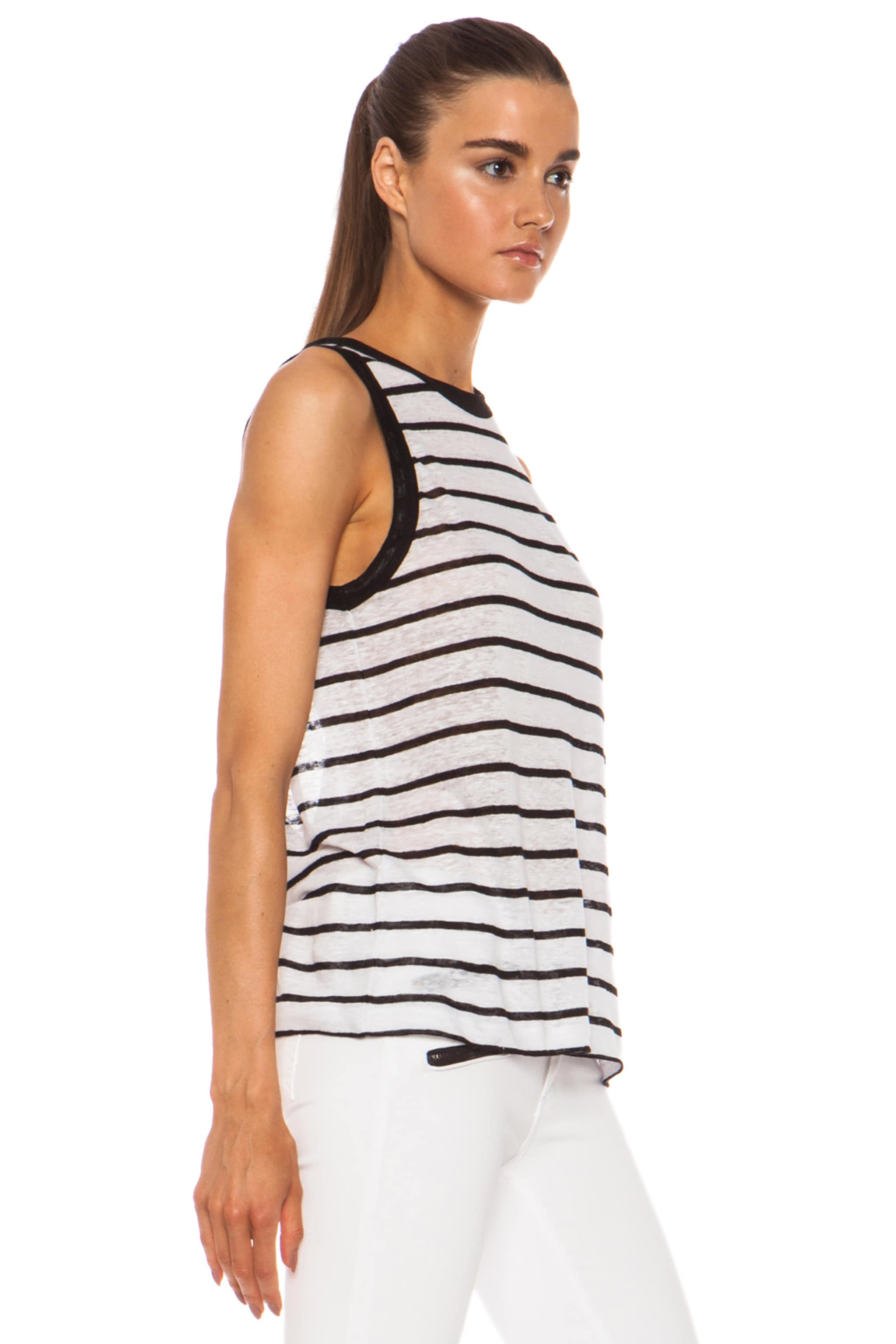 Image 3 of A.L.C. Tenorio Linen Tank in White & Black Stripe
