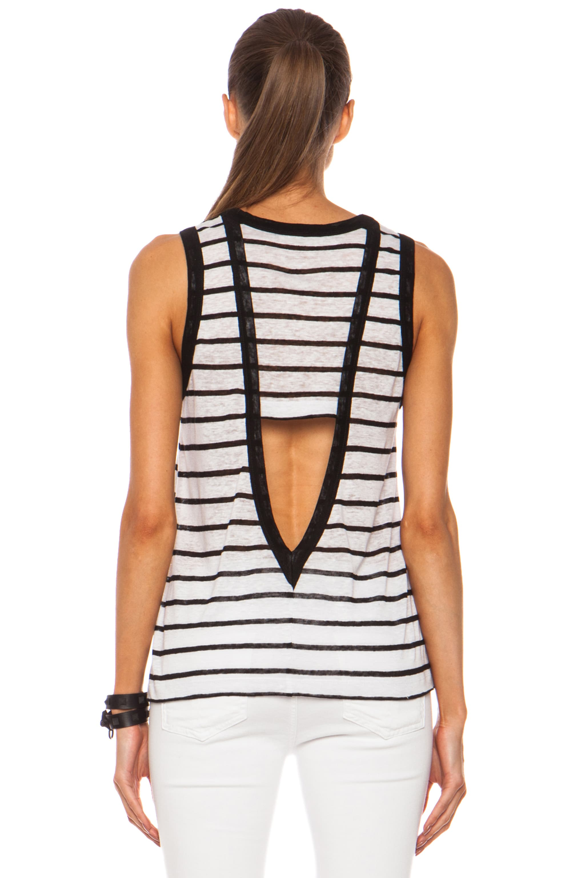 Image 4 of A.L.C. Tenorio Linen Tank in White & Black Stripe