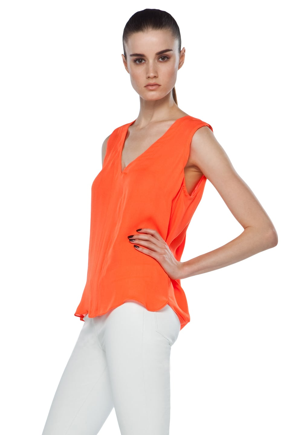 Image 2 of A.L.C. Sleeveless Diana Top in Safety Orange