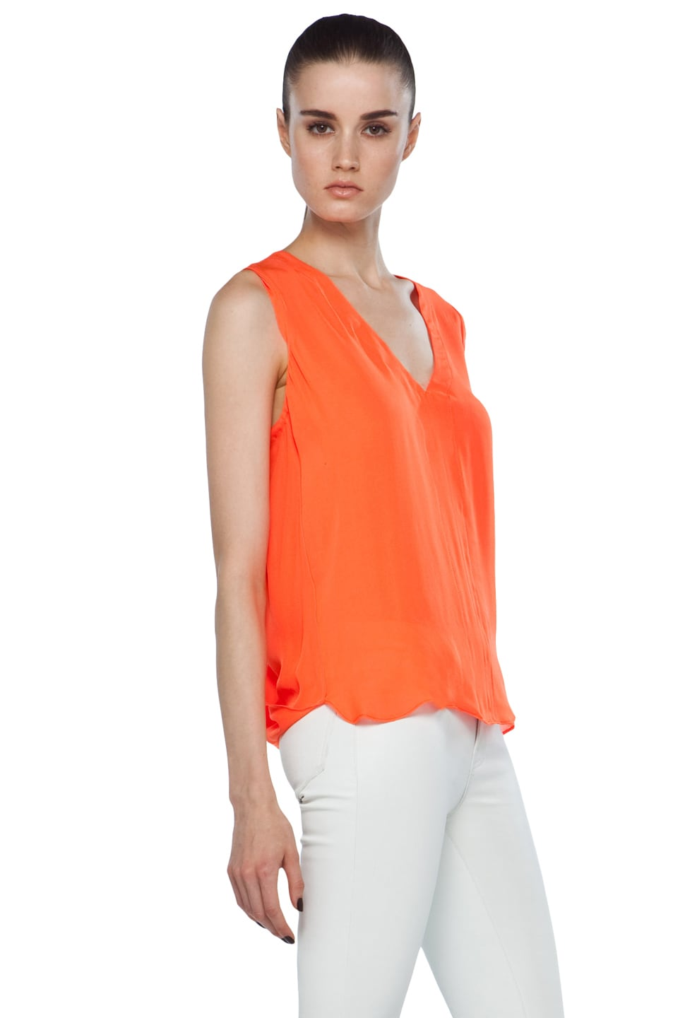 Image 3 of A.L.C. Sleeveless Diana Top in Safety Orange