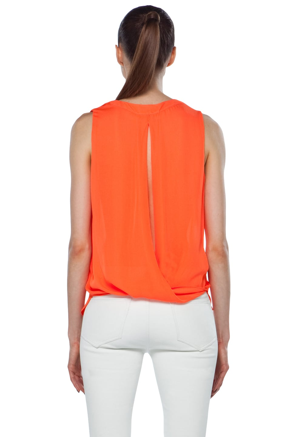 Image 4 of A.L.C. Sleeveless Diana Top in Safety Orange