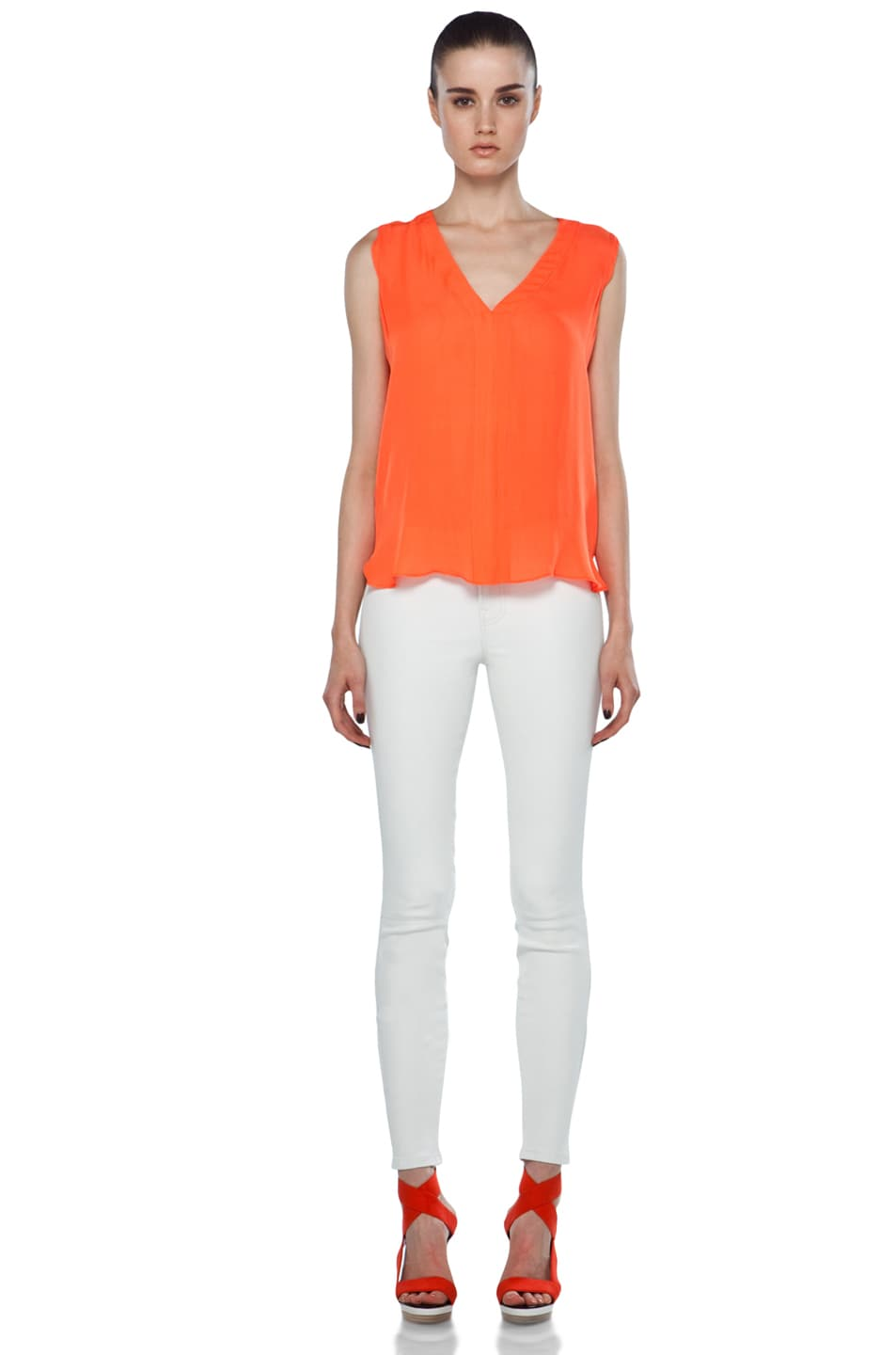 Image 5 of A.L.C. Sleeveless Diana Top in Safety Orange