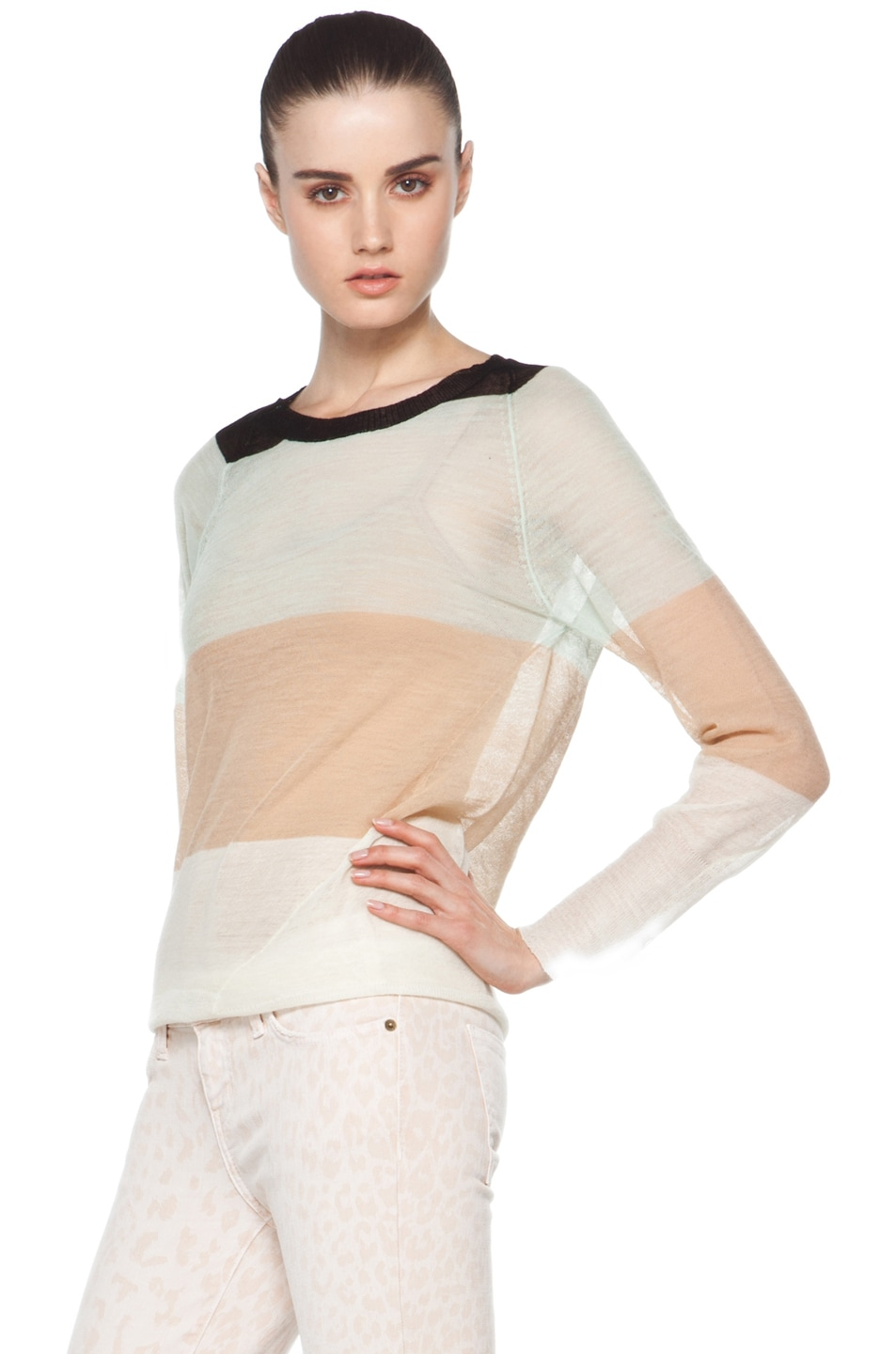 Image 2 of A.L.C. Cole Rugby Stripe Top in White/Beige/Mint/Black