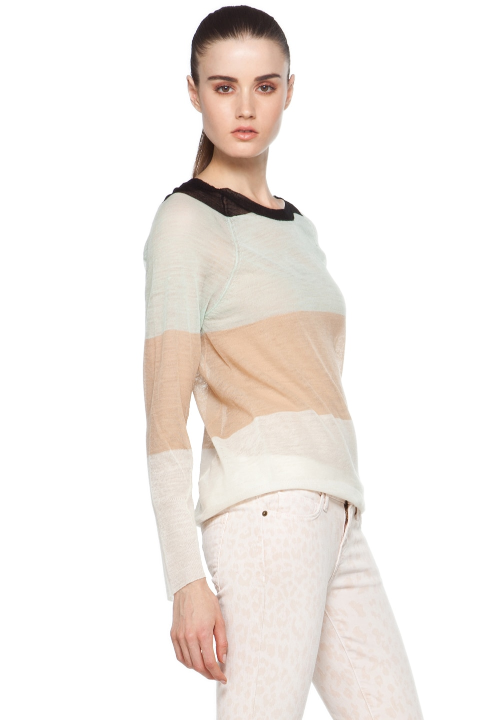 Image 3 of A.L.C. Cole Rugby Stripe Top in White/Beige/Mint/Black