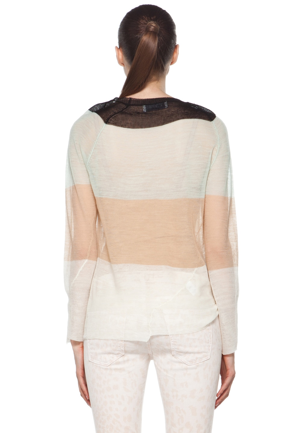 Image 4 of A.L.C. Cole Rugby Stripe Top in White/Beige/Mint/Black