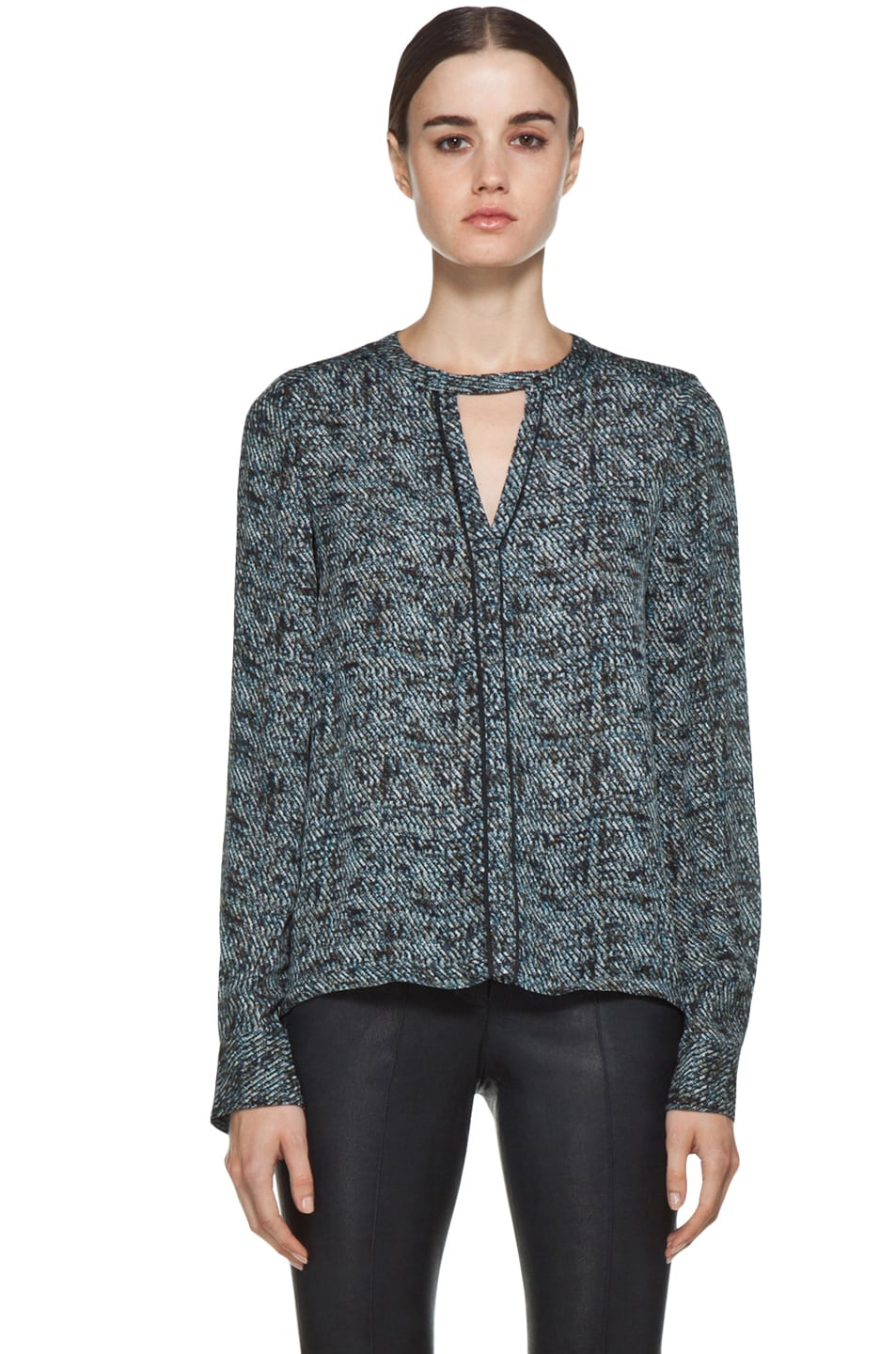 Image 1 of A.L.C. Ari Printed Blouse in Grain