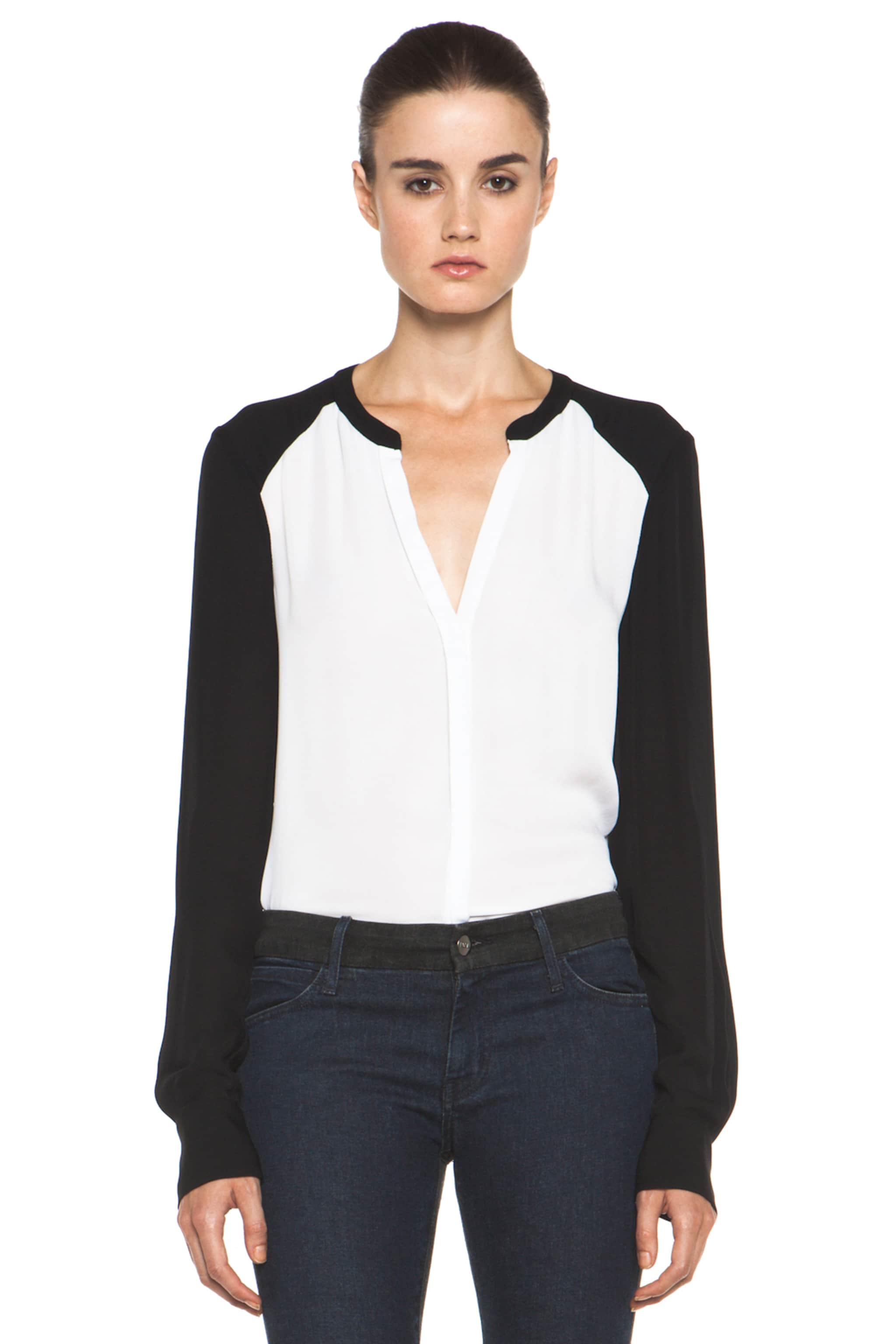 Image 1 of A.L.C. Hayden Silk Blouse in White & Black