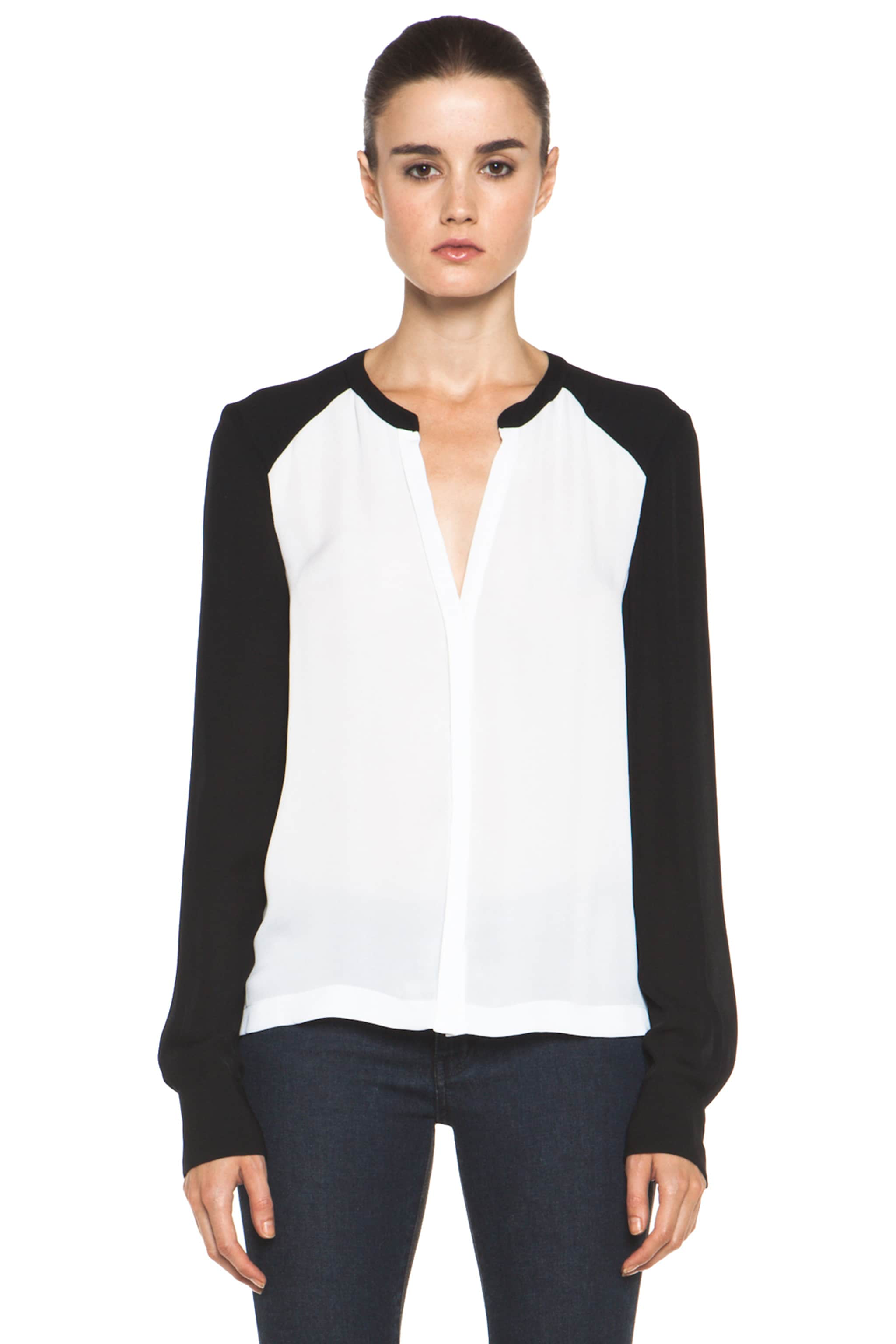 Image 2 of A.L.C. Hayden Silk Blouse in White & Black