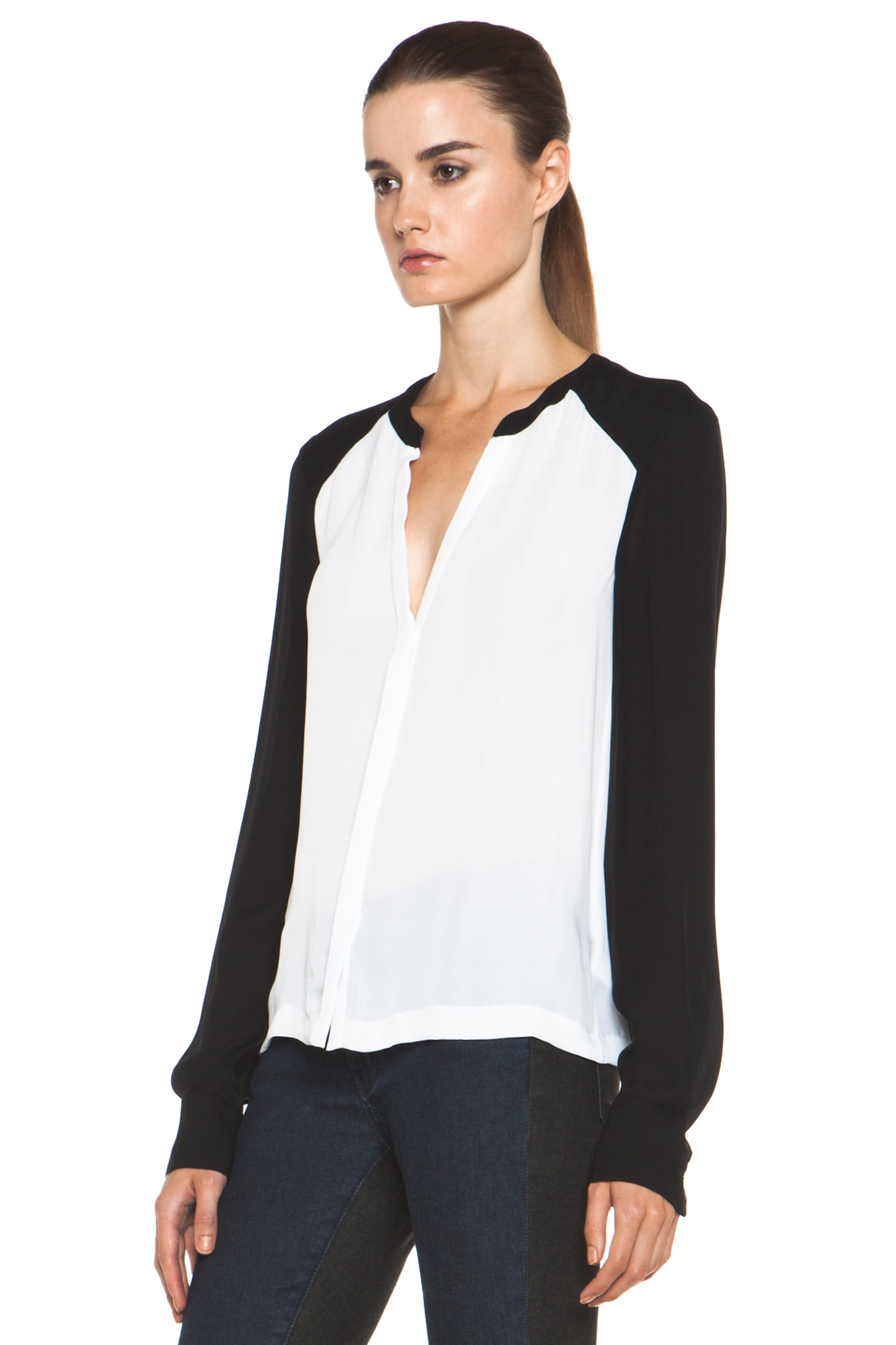Image 3 of A.L.C. Hayden Silk Blouse in White & Black