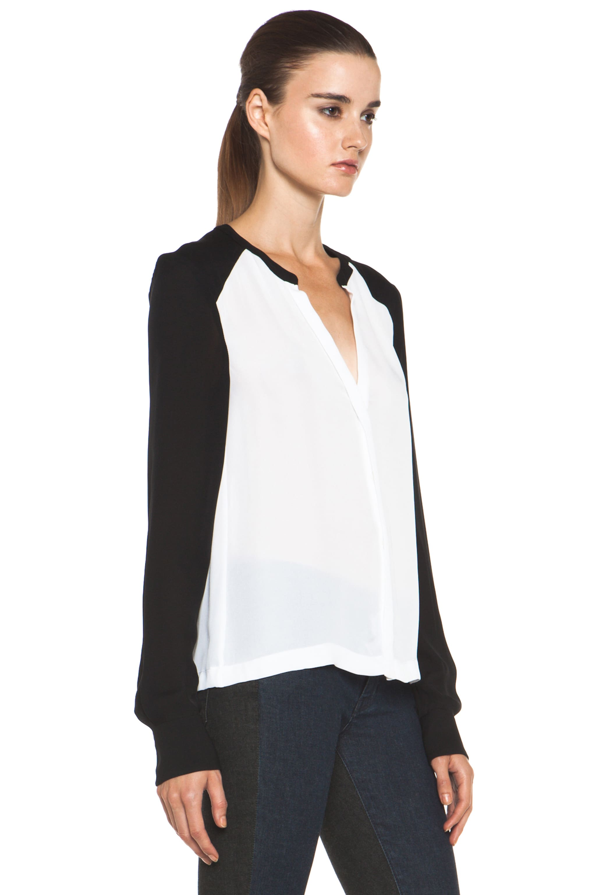 Image 4 of A.L.C. Hayden Silk Blouse in White & Black