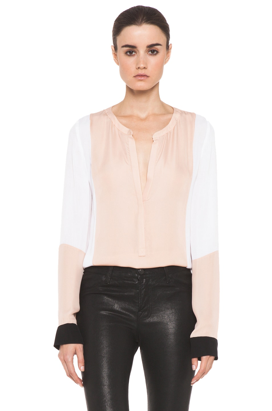 Image 1 of A.L.C. Dorset Silk Blouse in Blush