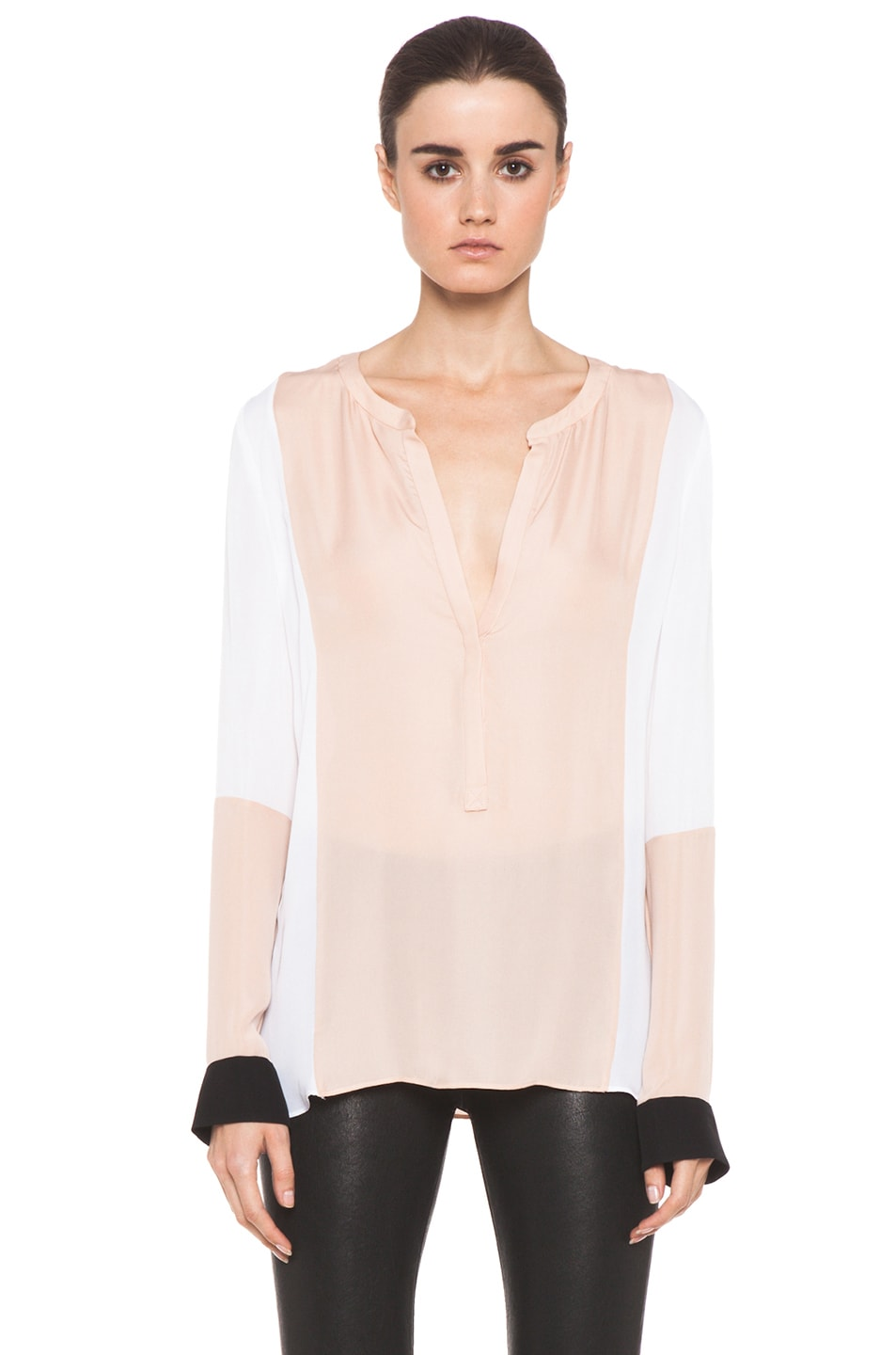 Image 2 of A.L.C. Dorset Silk Blouse in Blush