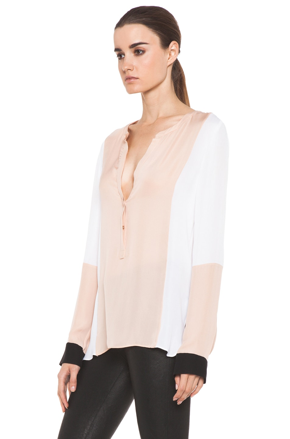 Image 3 of A.L.C. Dorset Silk Blouse in Blush