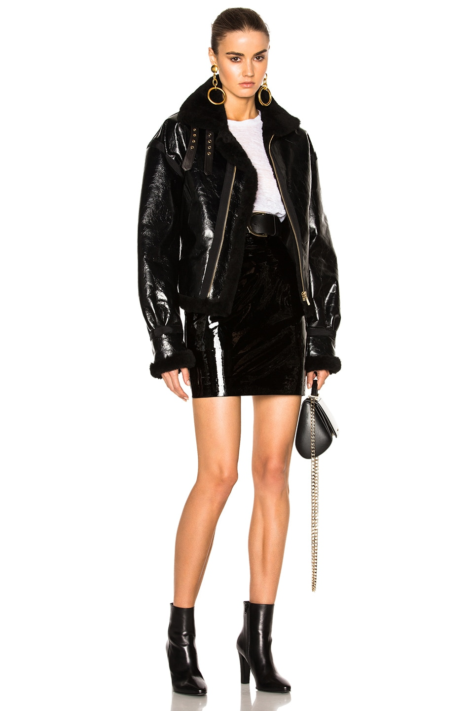 alexandre vauthier patent leather skirt in black fwrd