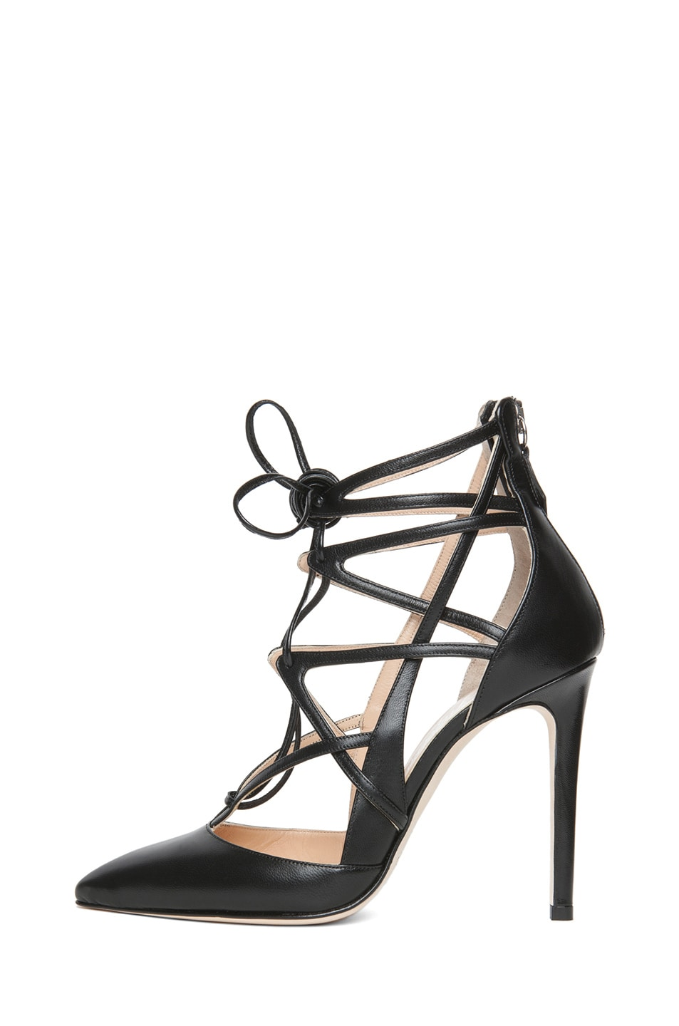 Image 1 of Alejandro Ingelmo Boomerang Calfskin Leather Lace Up Pump in Black