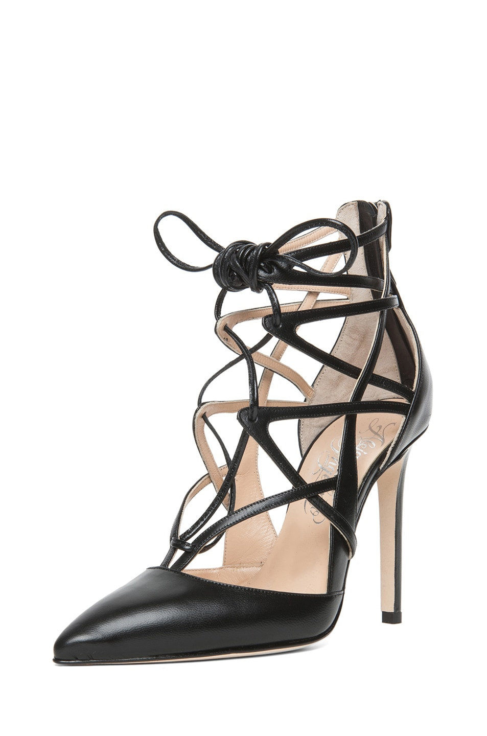 Image 2 of Alejandro Ingelmo Boomerang Calfskin Leather Lace Up Pump in Black