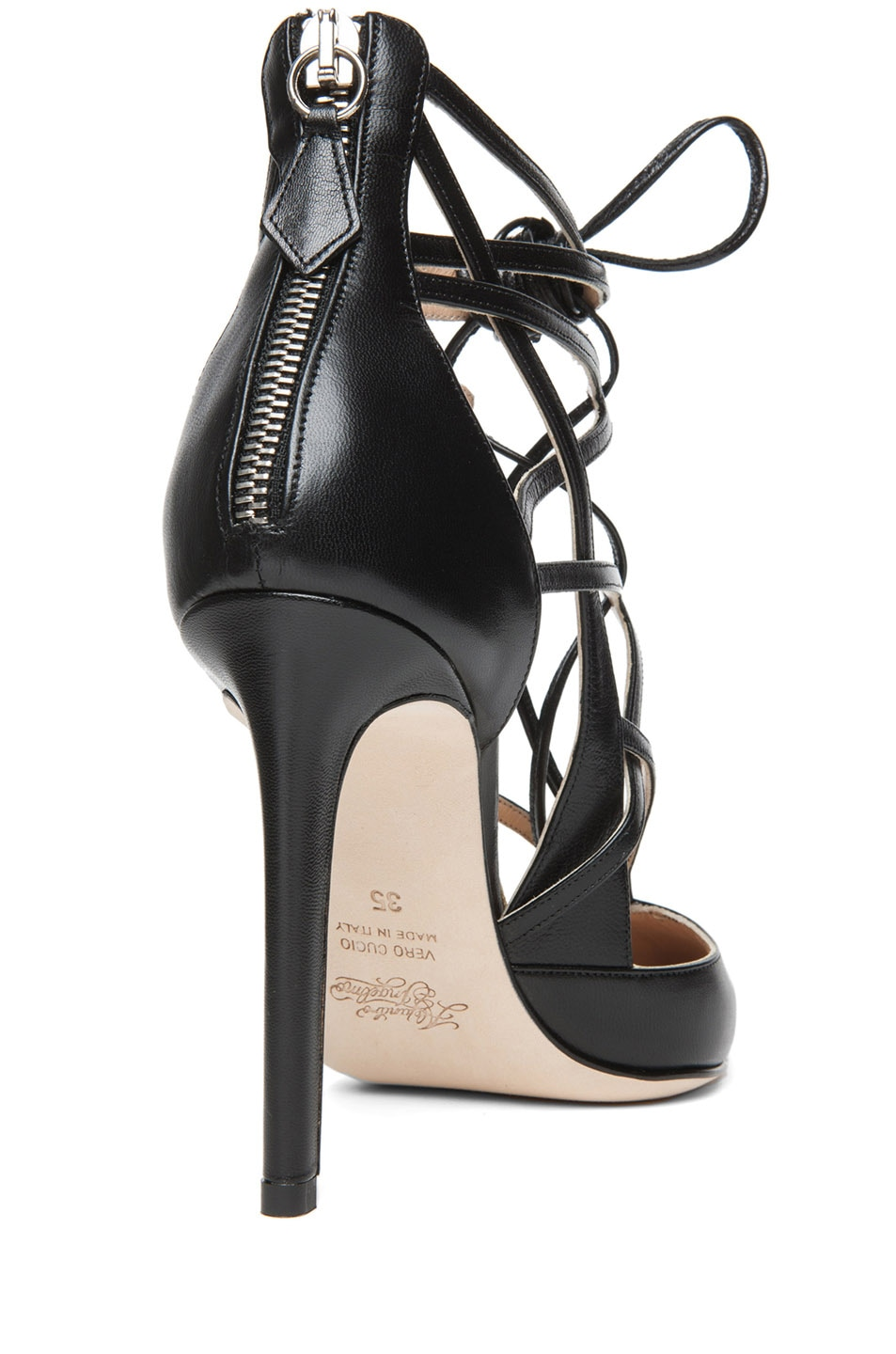 Image 3 of Alejandro Ingelmo Boomerang Calfskin Leather Lace Up Pump in Black