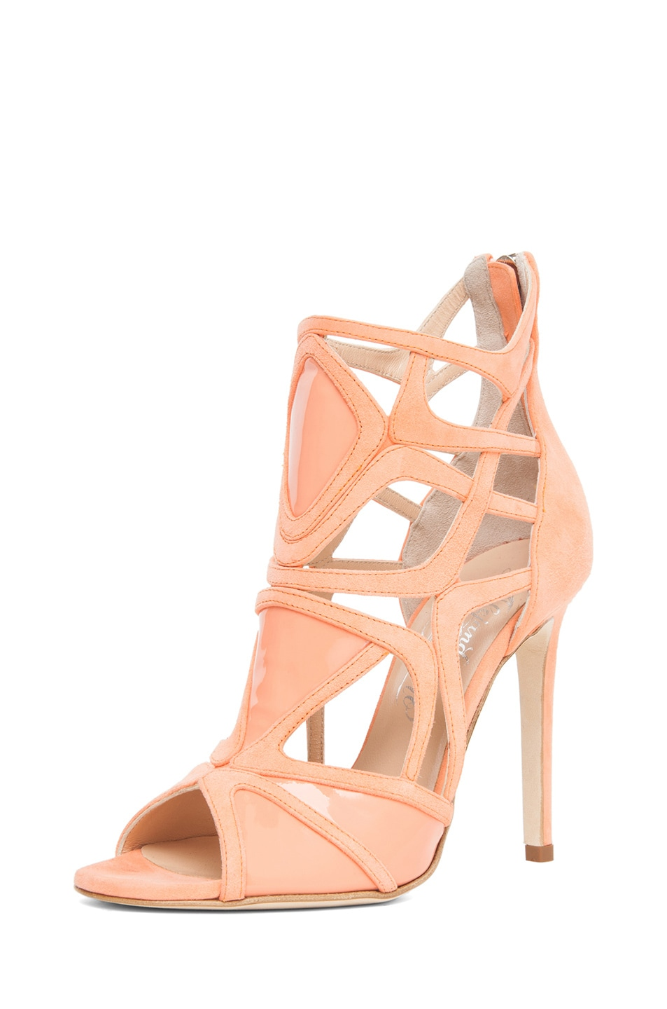 Image 2 of Alejandro Ingelmo Odessy Geometric Open Toe Bootie in Coral