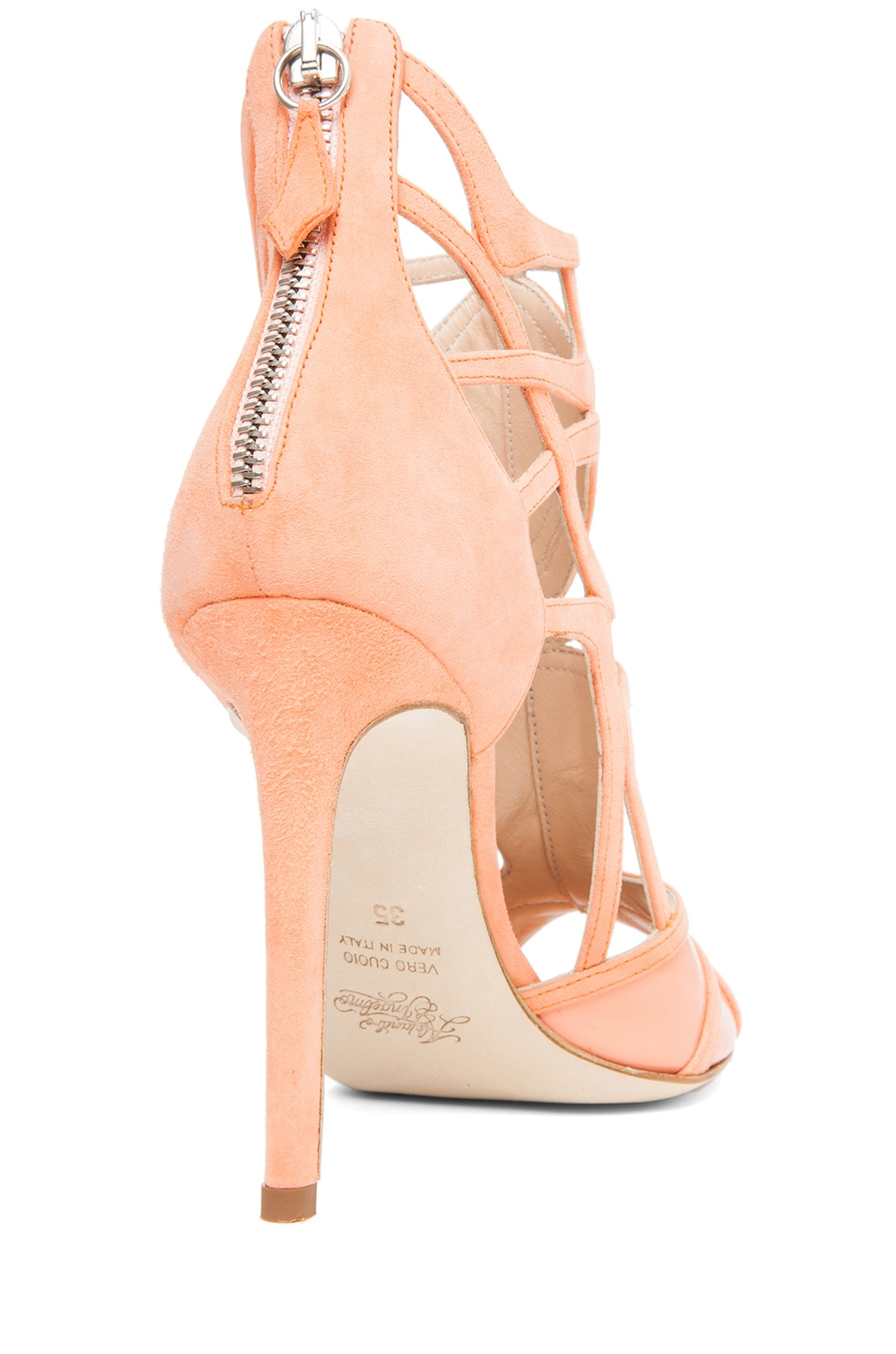 Image 3 of Alejandro Ingelmo Odessy Geometric Open Toe Bootie in Coral