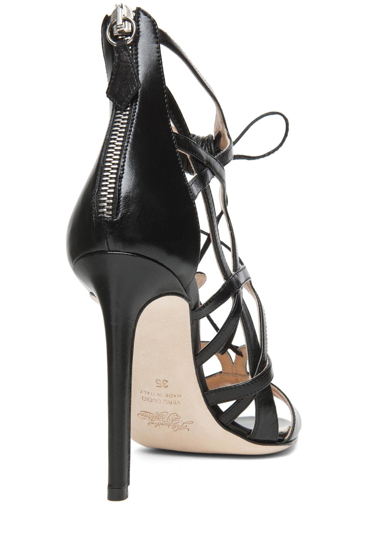 Image 3 of Alejandro Ingelmo Boomerang Calfskin Leather Lace Up Sandal in Black