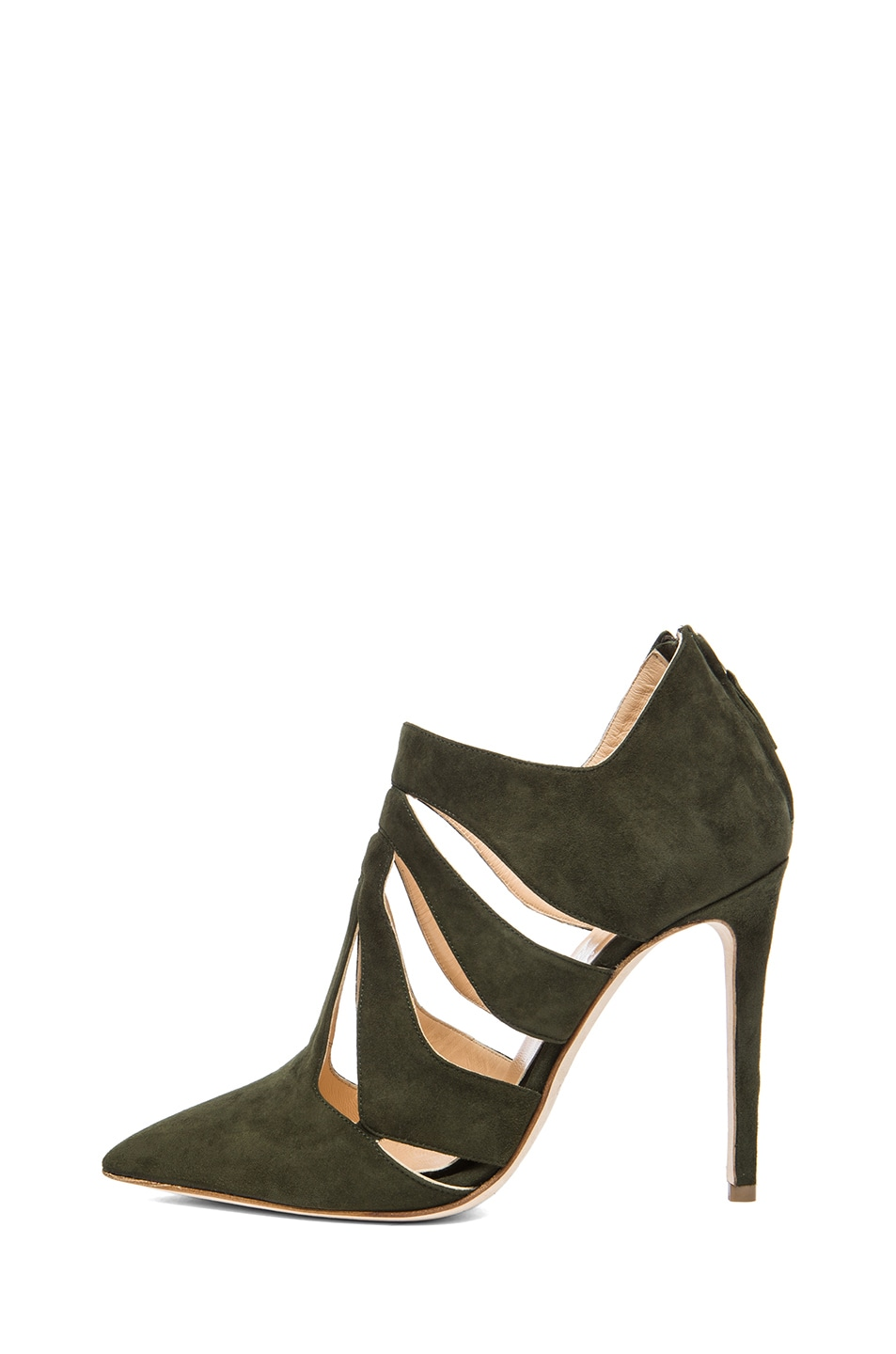 Image 1 of Alejandro Ingelmo Skeleton Suede Booties in Military