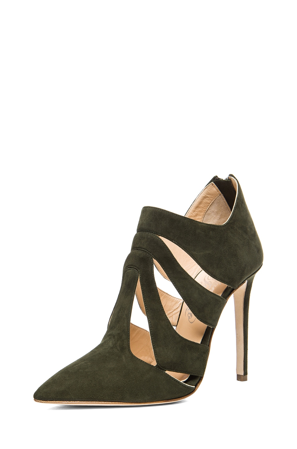 Image 2 of Alejandro Ingelmo Skeleton Suede Booties in Military