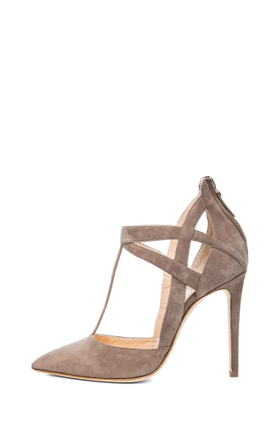 Image 1 of Alejandro Ingelmo Tara Suede T-Strap Pumps in Taupe