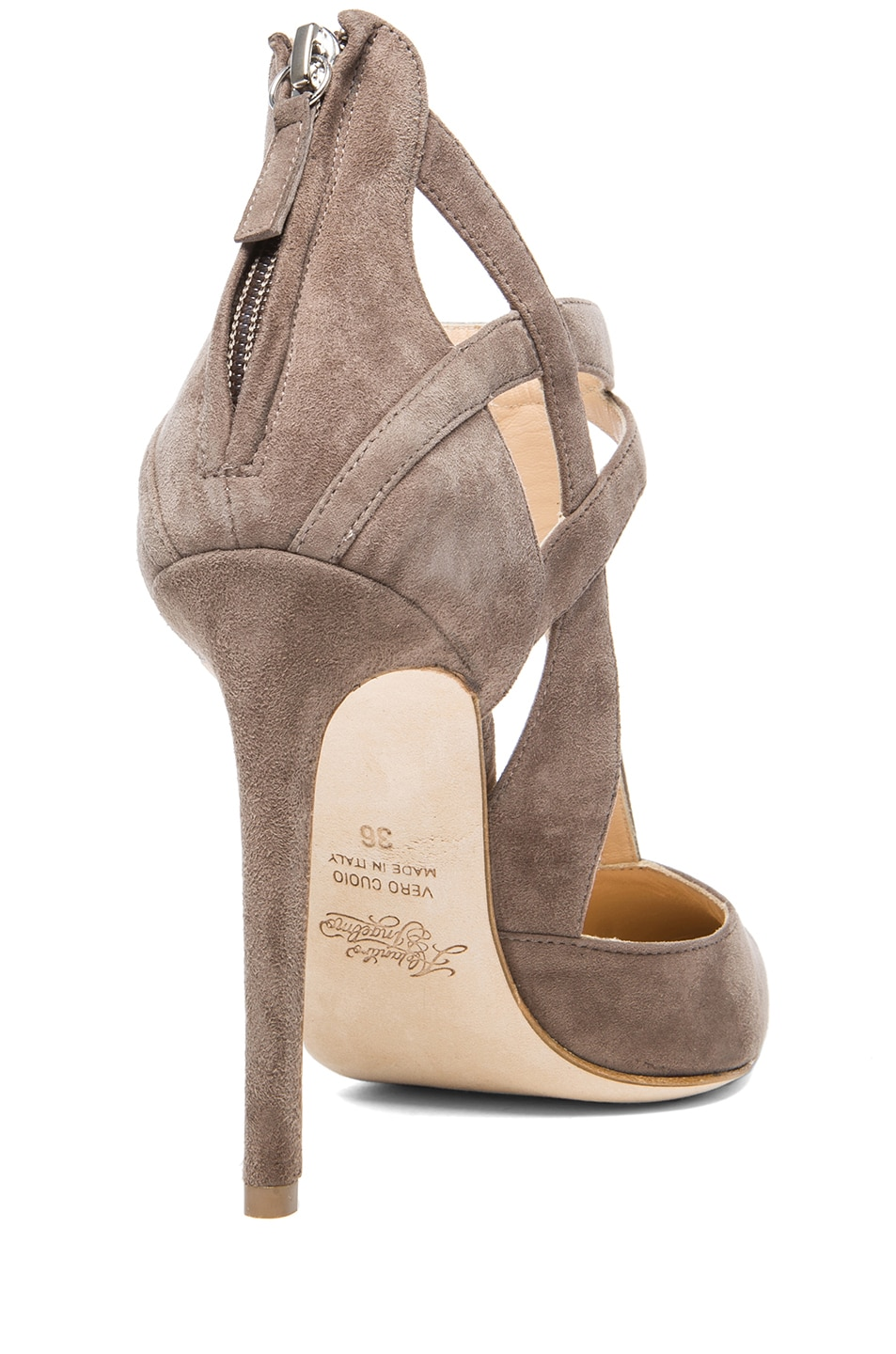 Image 3 of Alejandro Ingelmo Tara Suede T-Strap Pumps in Taupe