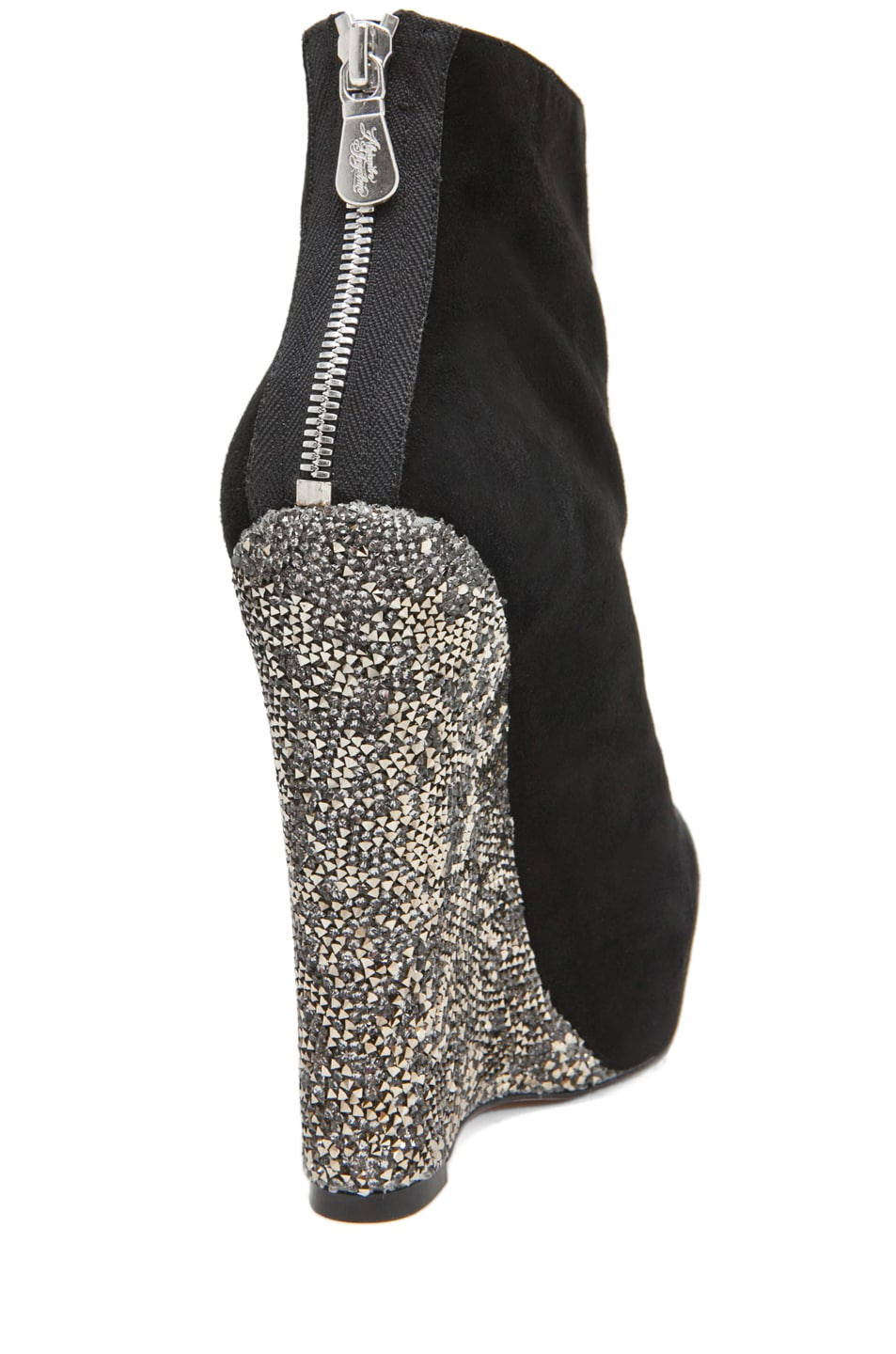Image 3 of Alejandro Ingelmo Crystal Crosby Wedge in Black/Silver