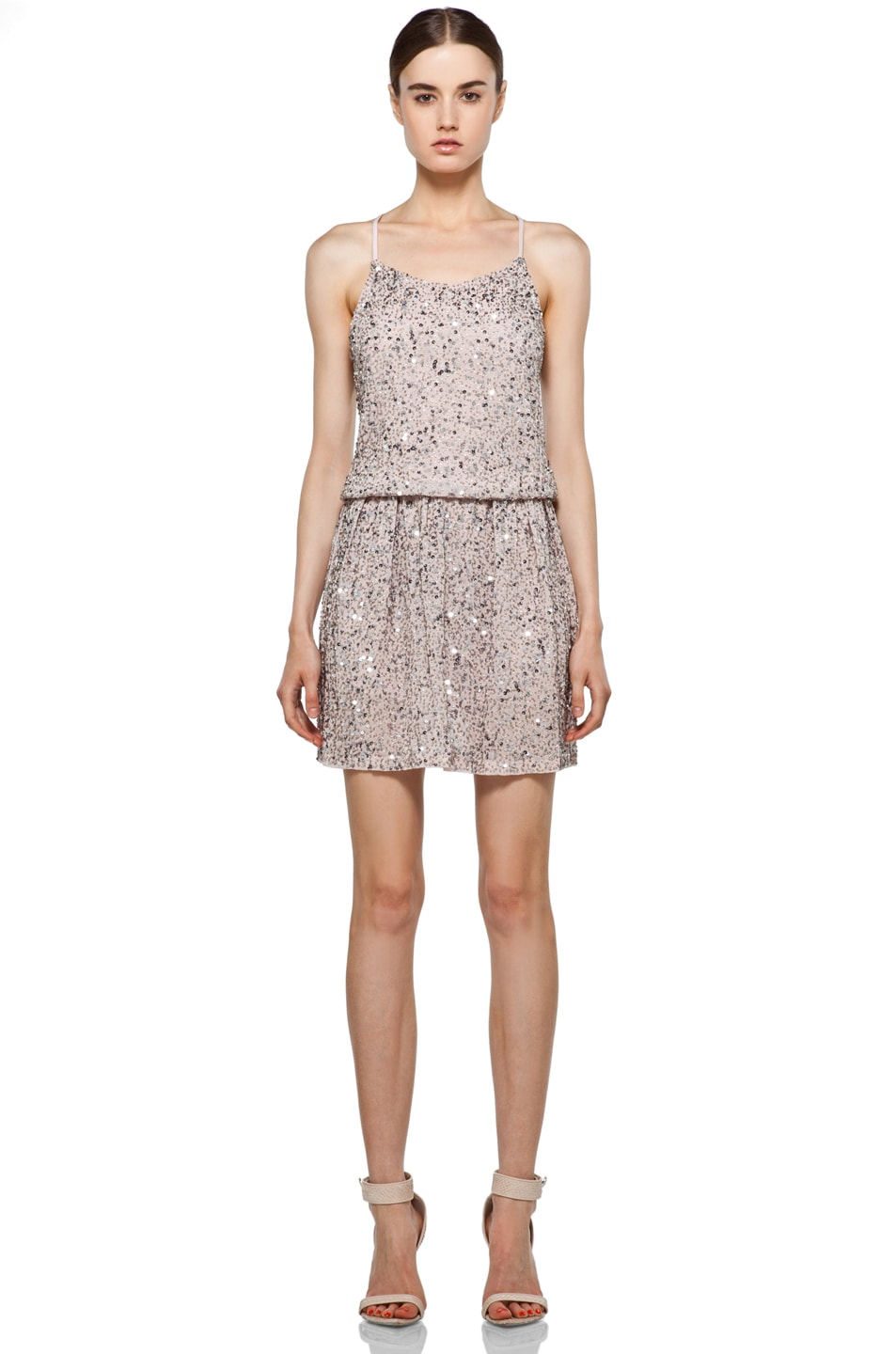 Image 1 of Alice + Olivia Bridget Sequin Blouson Dress in Dusty Pink