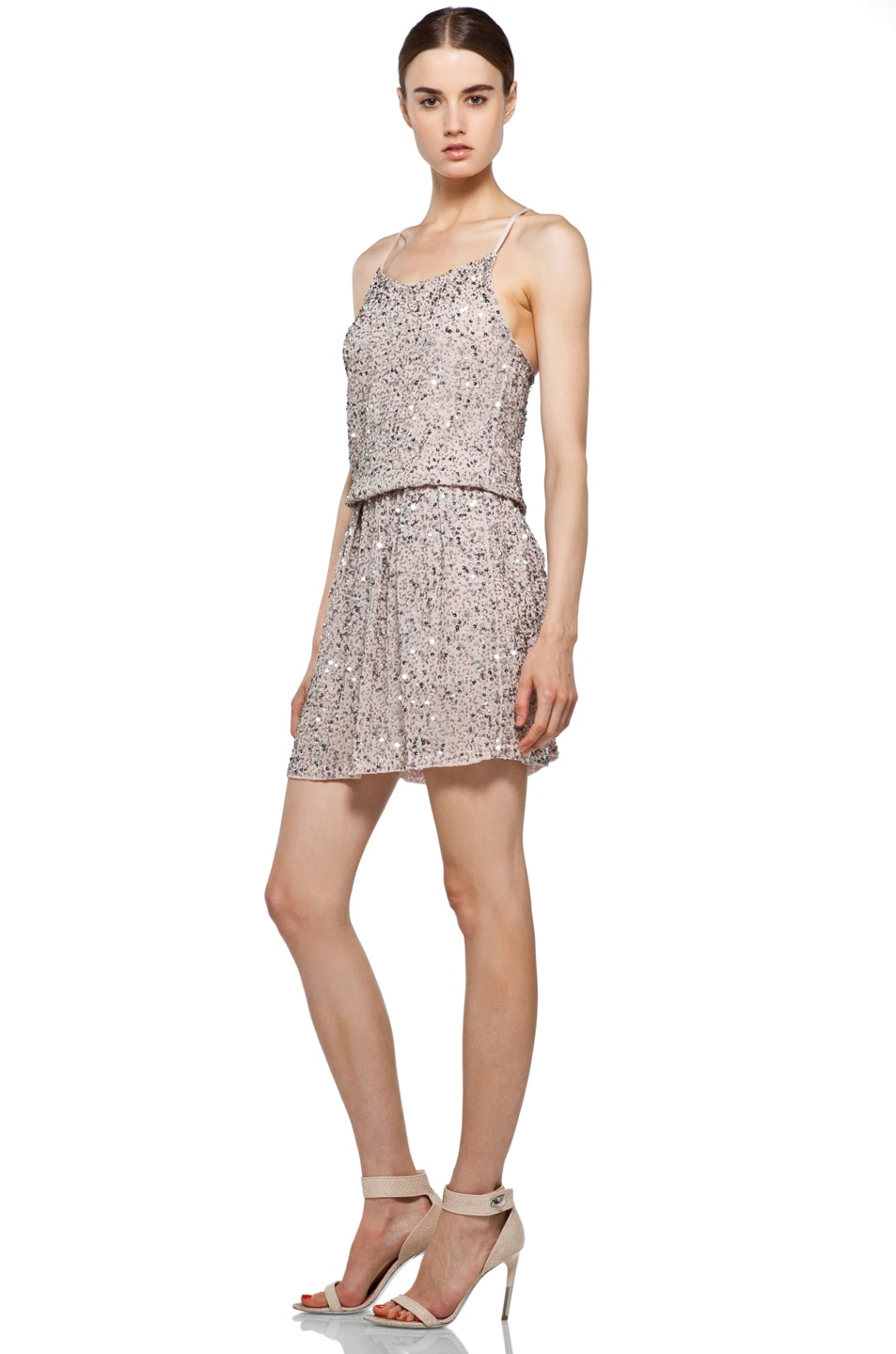 Image 2 of Alice + Olivia Bridget Sequin Blouson Dress in Dusty Pink