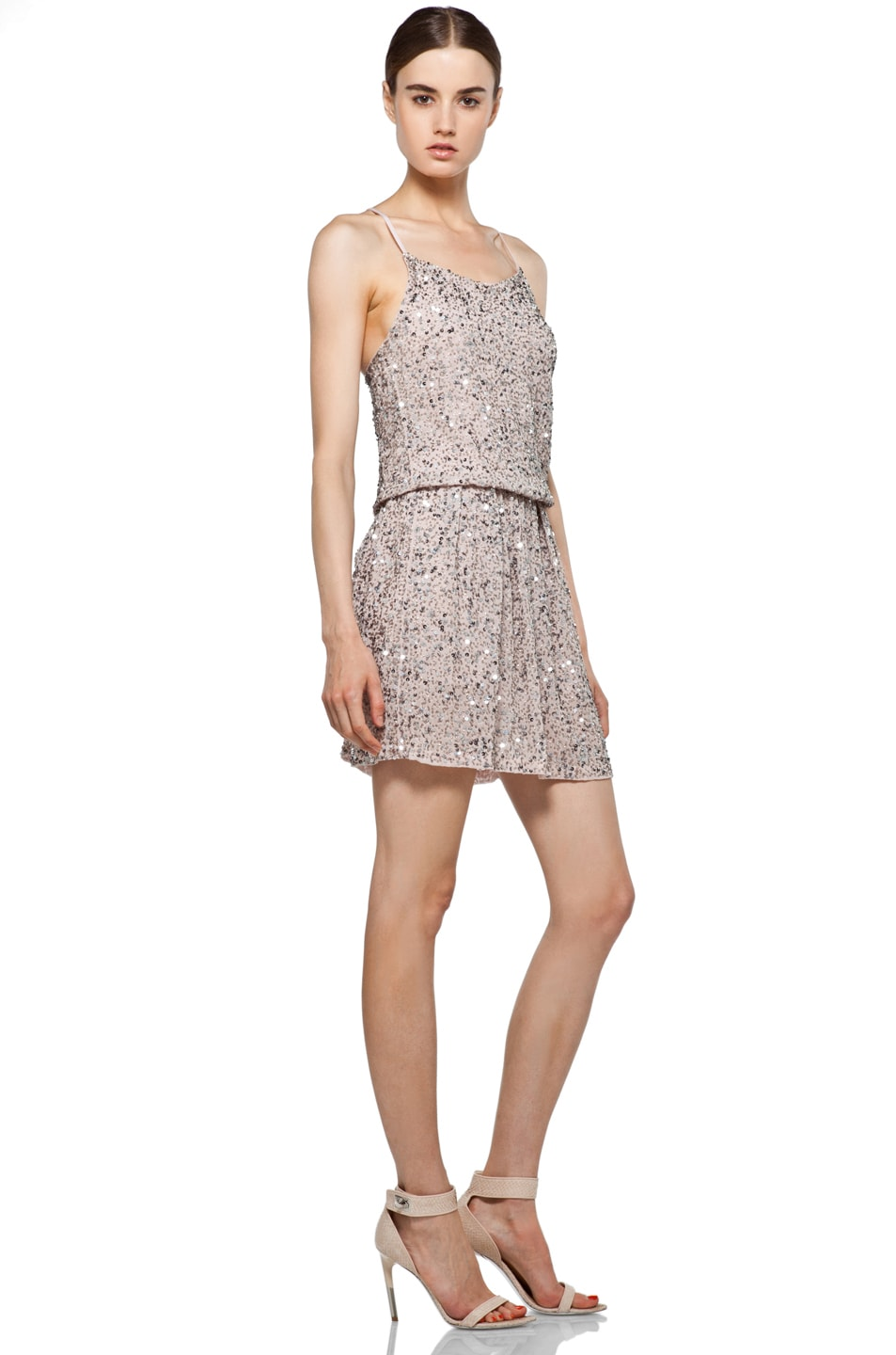 Image 3 of Alice + Olivia Bridget Sequin Blouson Dress in Dusty Pink
